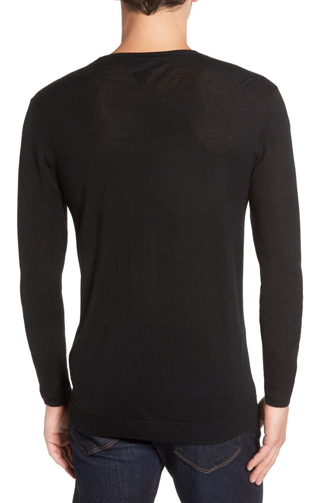 V-Neck Sweater,                             Alternate thumbnail 2, color,                             Black