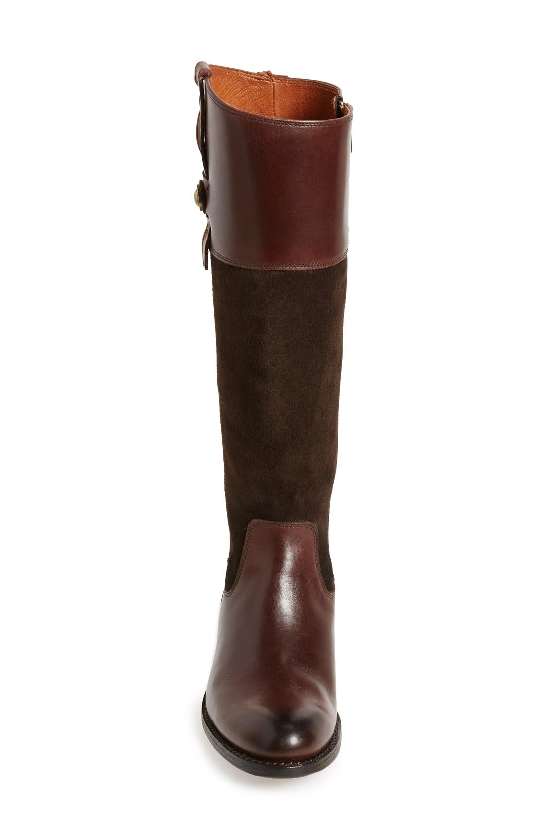 'Jayden Button' Tall Boot,                             Alternate thumbnail 3, color,                             Chocolate Oiled Suede