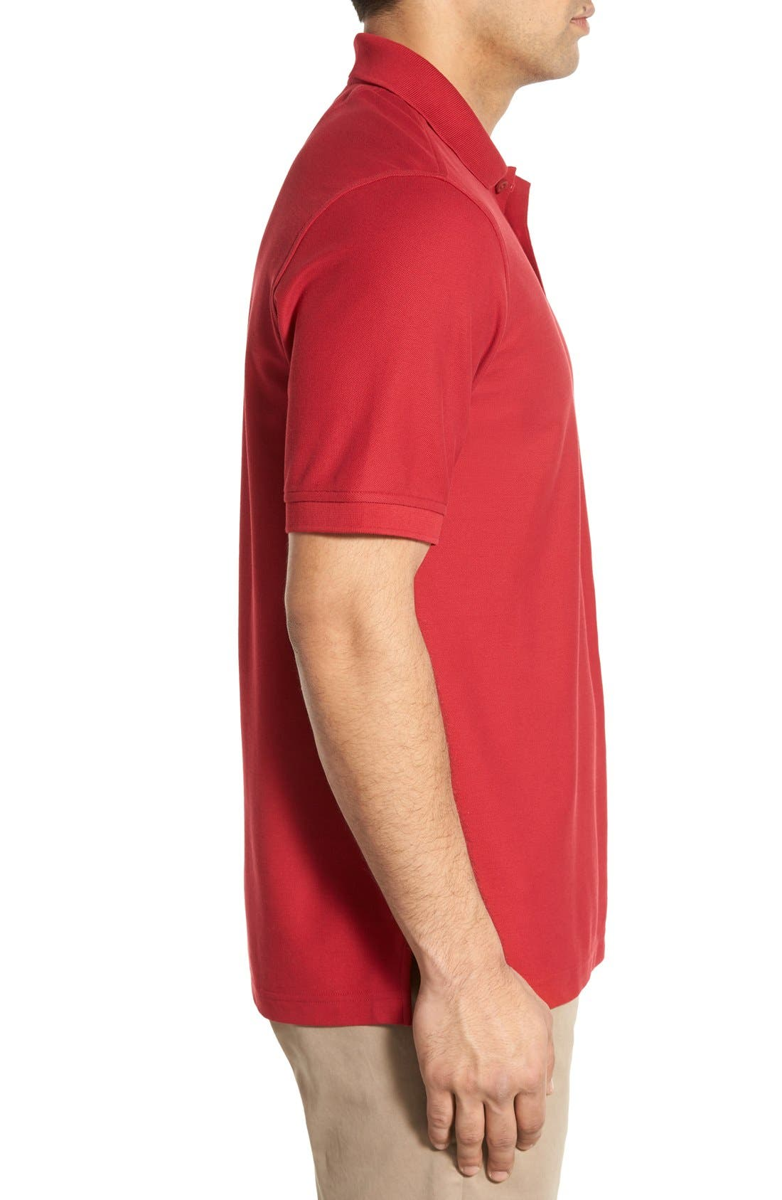 Classic Regular Fit Piqué Polo,                             Alternate thumbnail 3, color,                             Red Rio