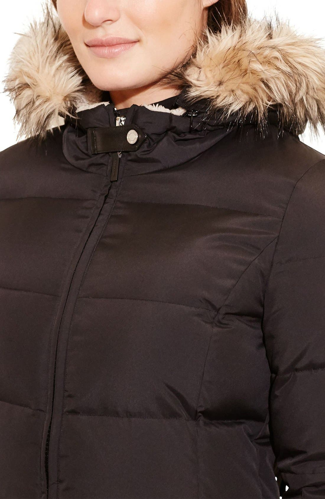 Quilted Down & Feather Fill Parka with Faux Fur Trim,                             Alternate thumbnail 3, color,                             Black