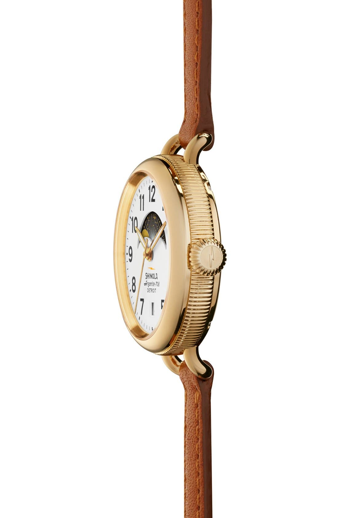 The Birdy Moon Phase Leather Strap Watch, 34mm,                             Alternate thumbnail 3, color,                             Brown/ White