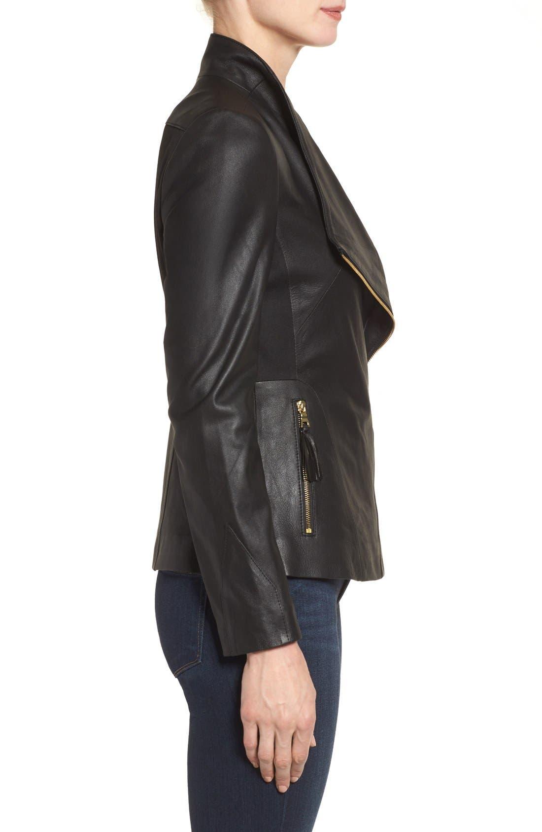 Alternate Image 3  - Via Spiga Asymmetrical Leather Jacket