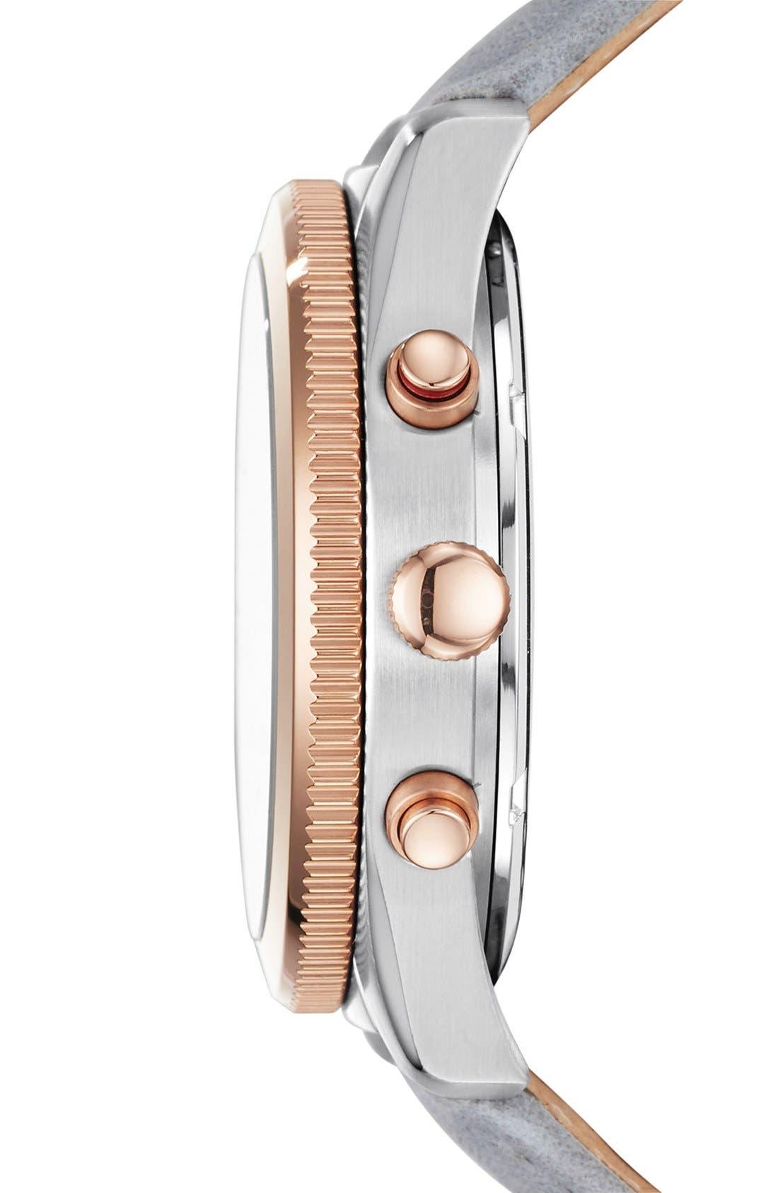 Alternate Image 3  - Fossil 'Perfect Boyfriend' Multifunction Leather Strap Watch, 39mm