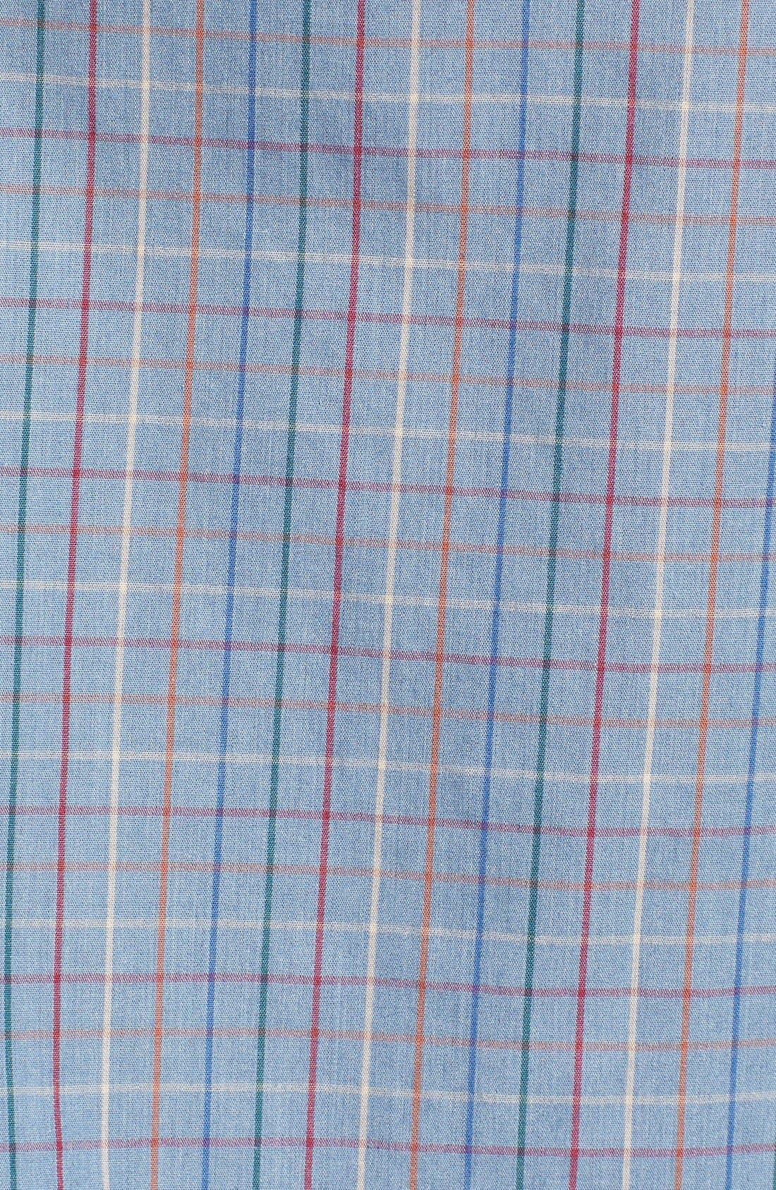 'Memphis' Trim Fit Plaid Short Sleeve Woven Shirt,                             Alternate thumbnail 5, color,                             Washed Blue