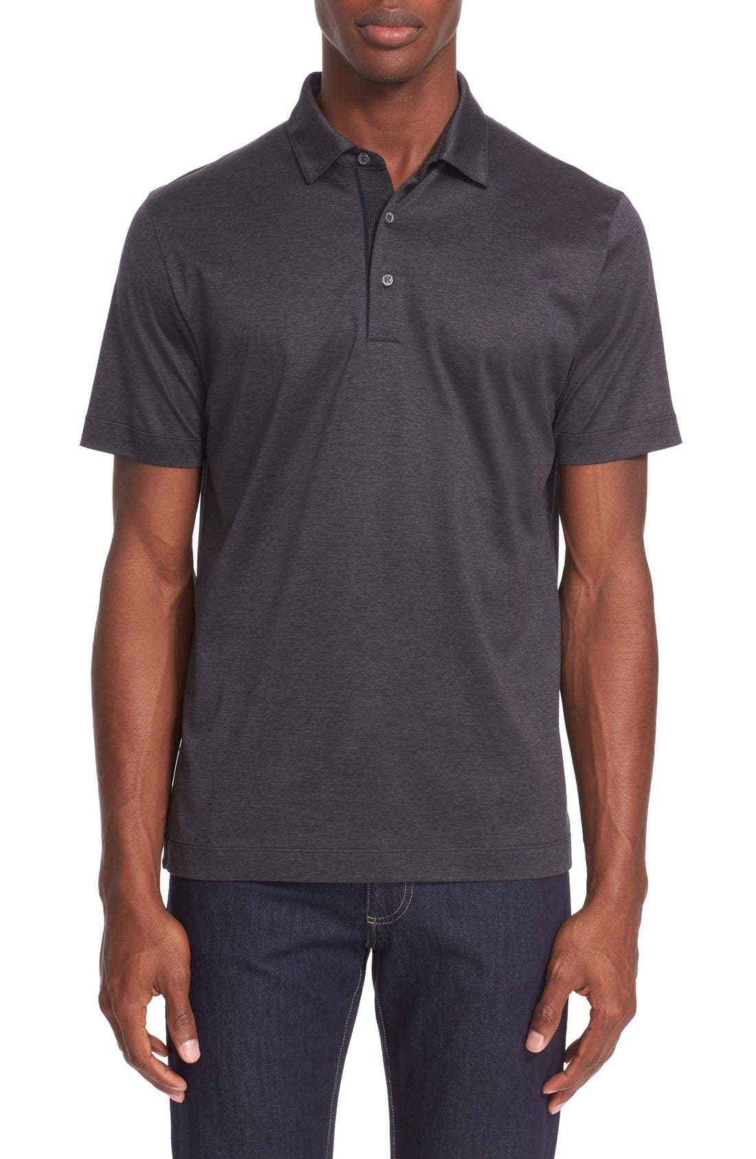 Heathered Mercerized Jersey Polo,                         Main,                         color, Charcoal