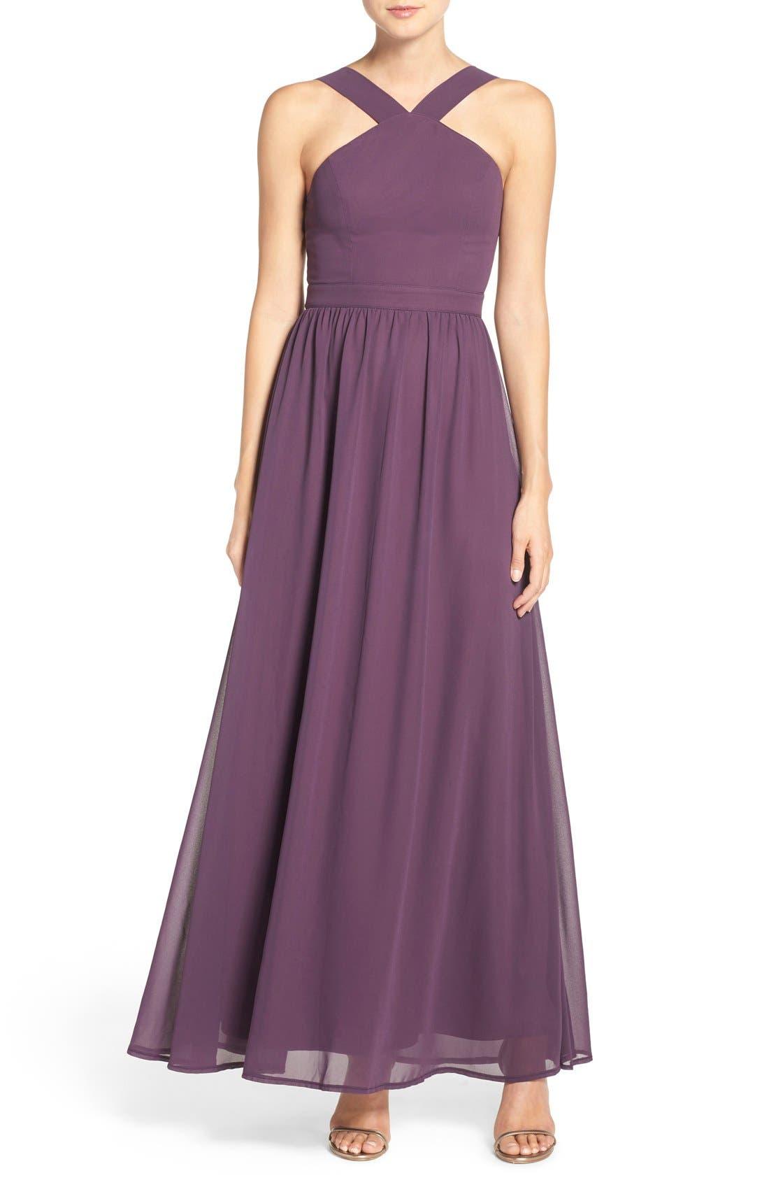 Cross Neck A-Line Chiffon Gown,                             Main thumbnail 1, color,                             Dusty Purple