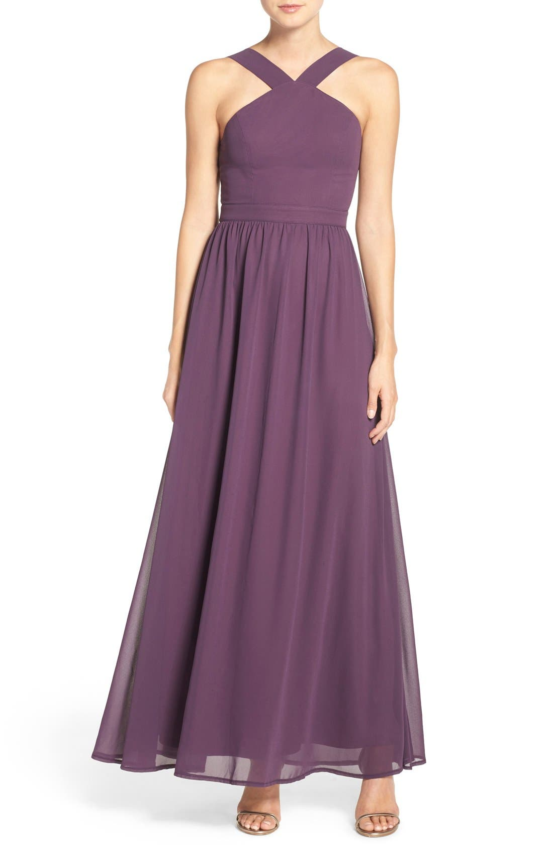 Cross Neck A-Line Chiffon Gown,                         Main,                         color, Dusty Purple