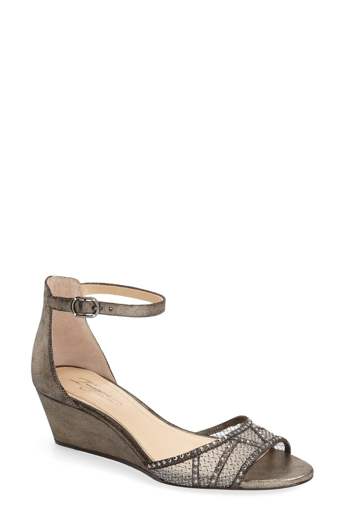 'Joan' Studded Wedge Sandal,                             Main thumbnail 1, color,                             Anthracite Suede