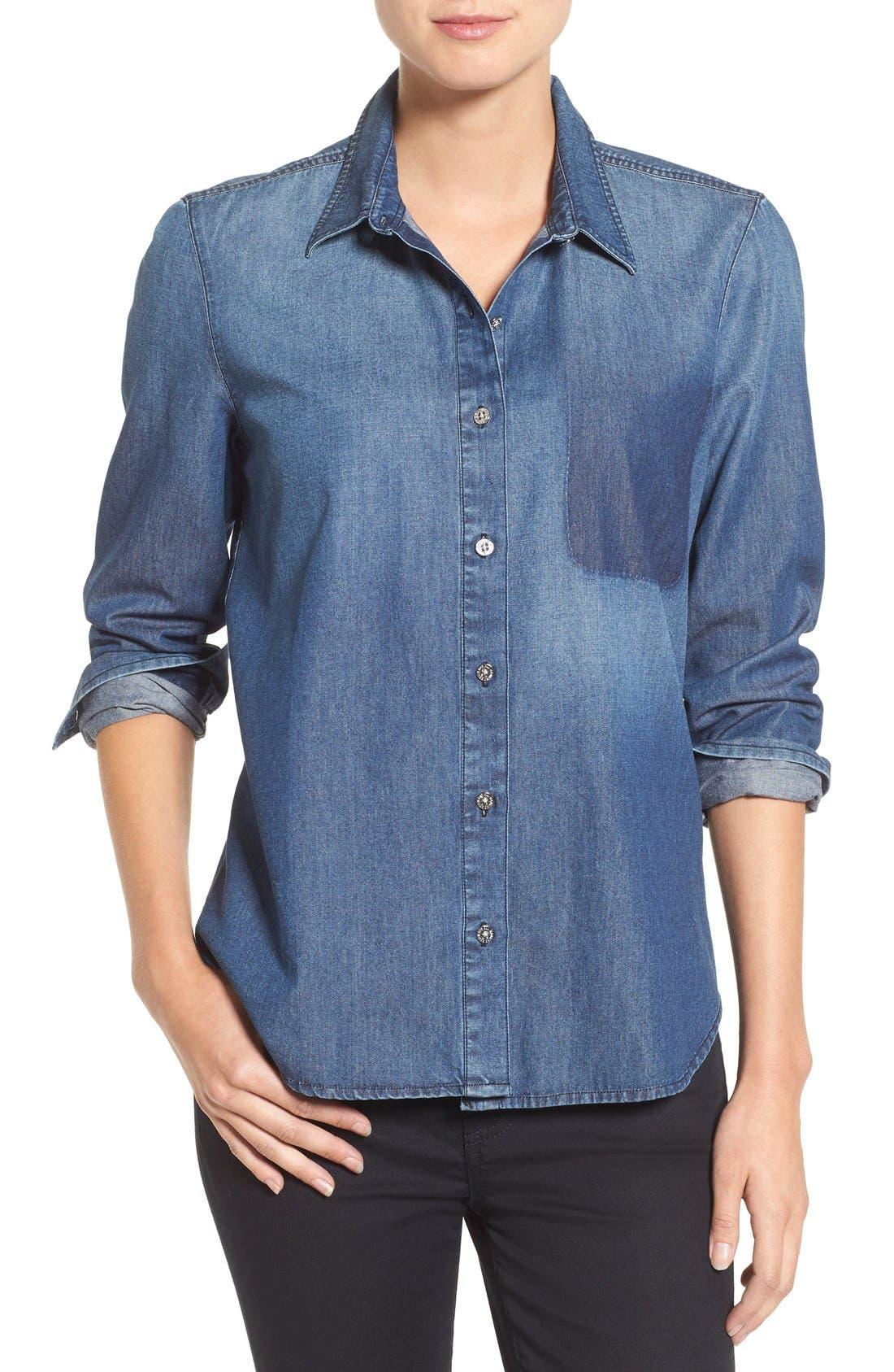 Alternate Image 1 Selected - 7 For All Mankind® Shadow Pocket Denim Shirt