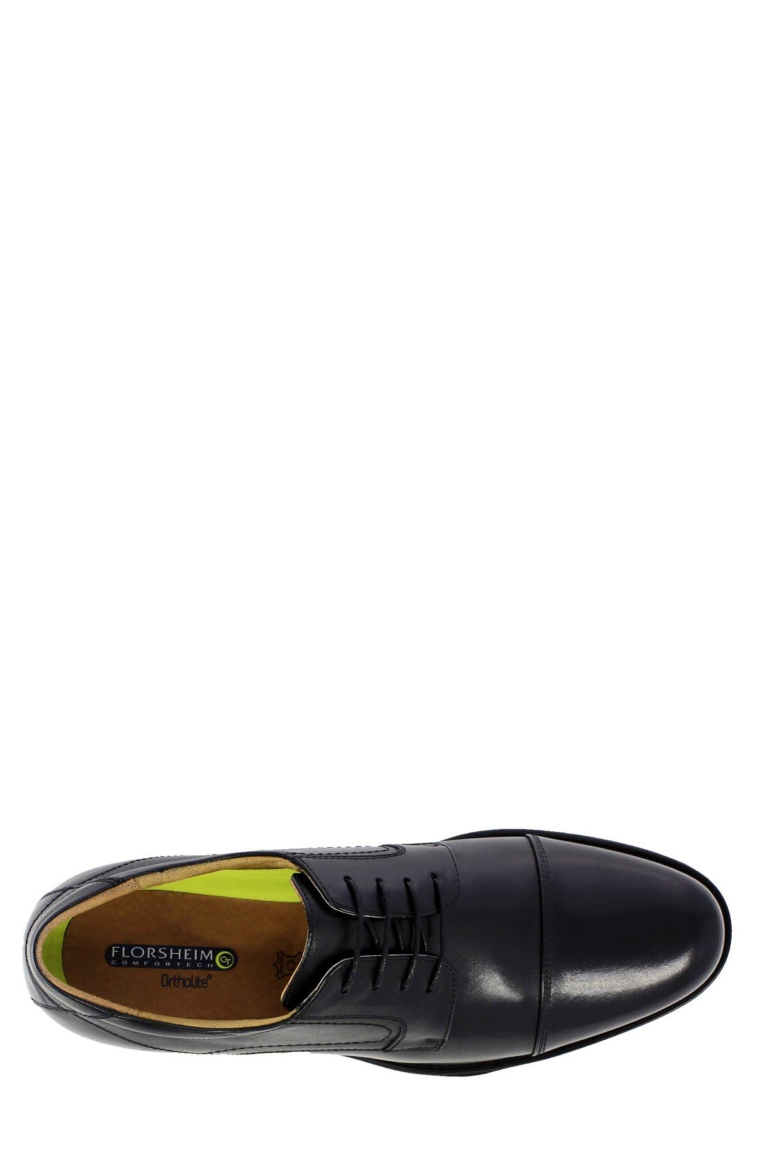 'Midtown' Cap Toe Derby,                             Alternate thumbnail 3, color,                             Black Leather