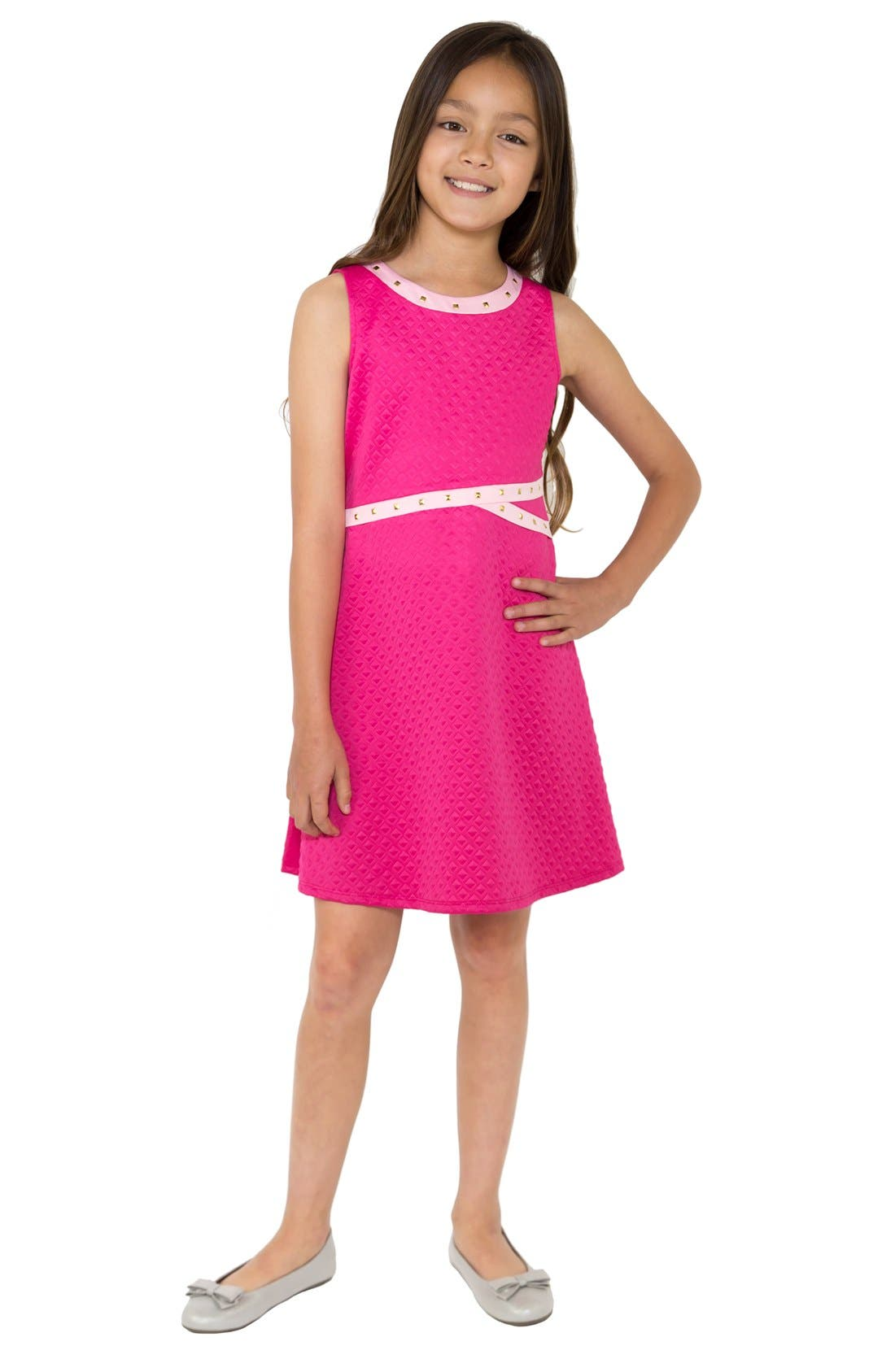 BLUSH by Us Angels Embossed Scuba Fit & Flare Dress (Big Girls)