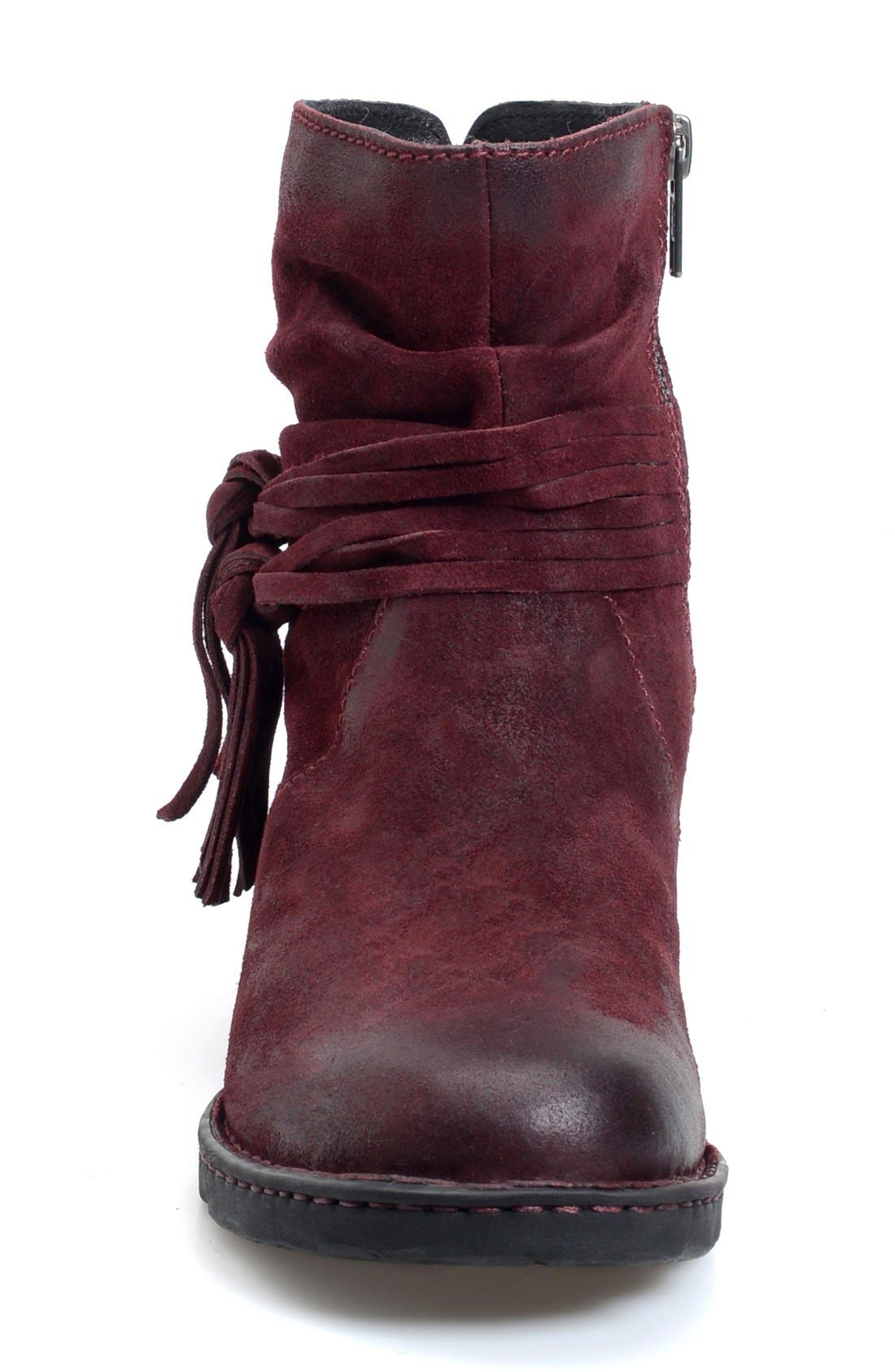 'Cross' Bootie,                             Alternate thumbnail 3, color,                             Amarena Distressed Leather