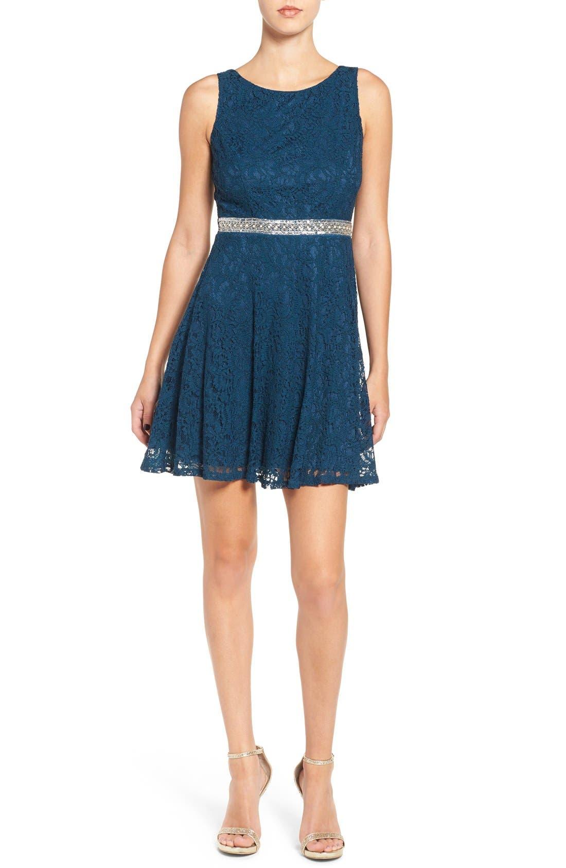 Main Image - Speechless Embellished Lace Skater Dress
