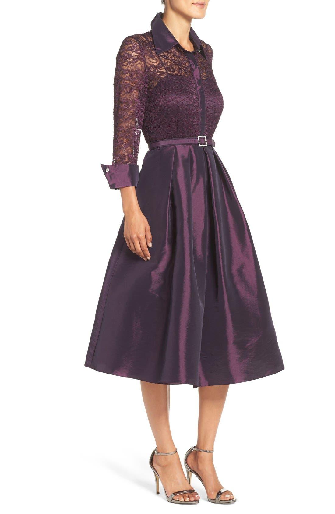 Mixed Media Fit & Flare Dress,                             Alternate thumbnail 3, color,                             Plum