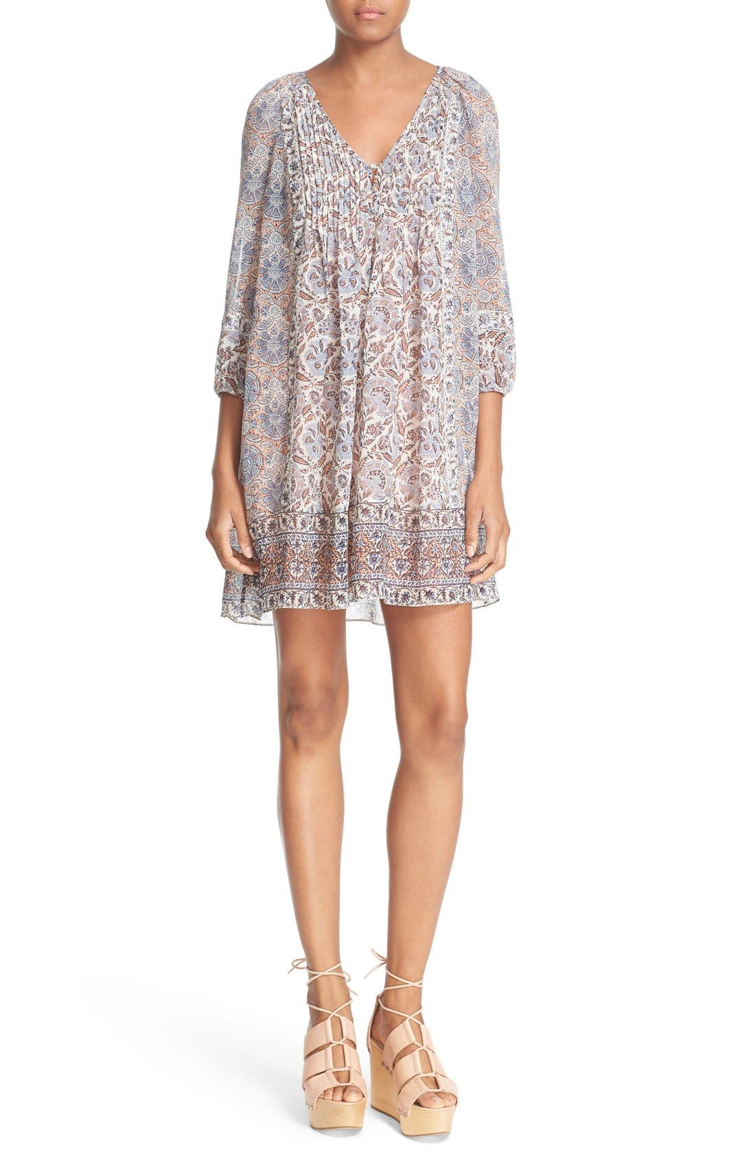 Main Image - Joie 'Foxley' Floral Print Silk Peasant Dress