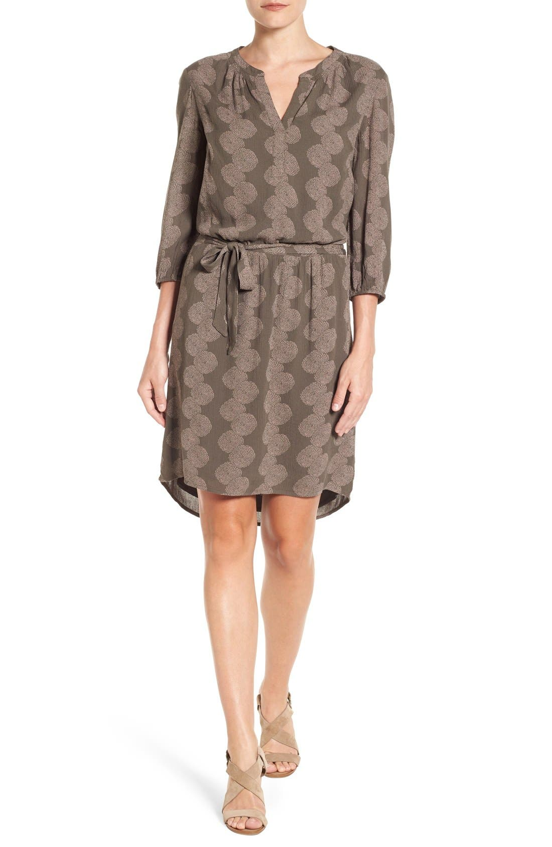 Main Image - Caslon® Three-Quarter Sleeve Print Shirtdress (Regular & Petite)