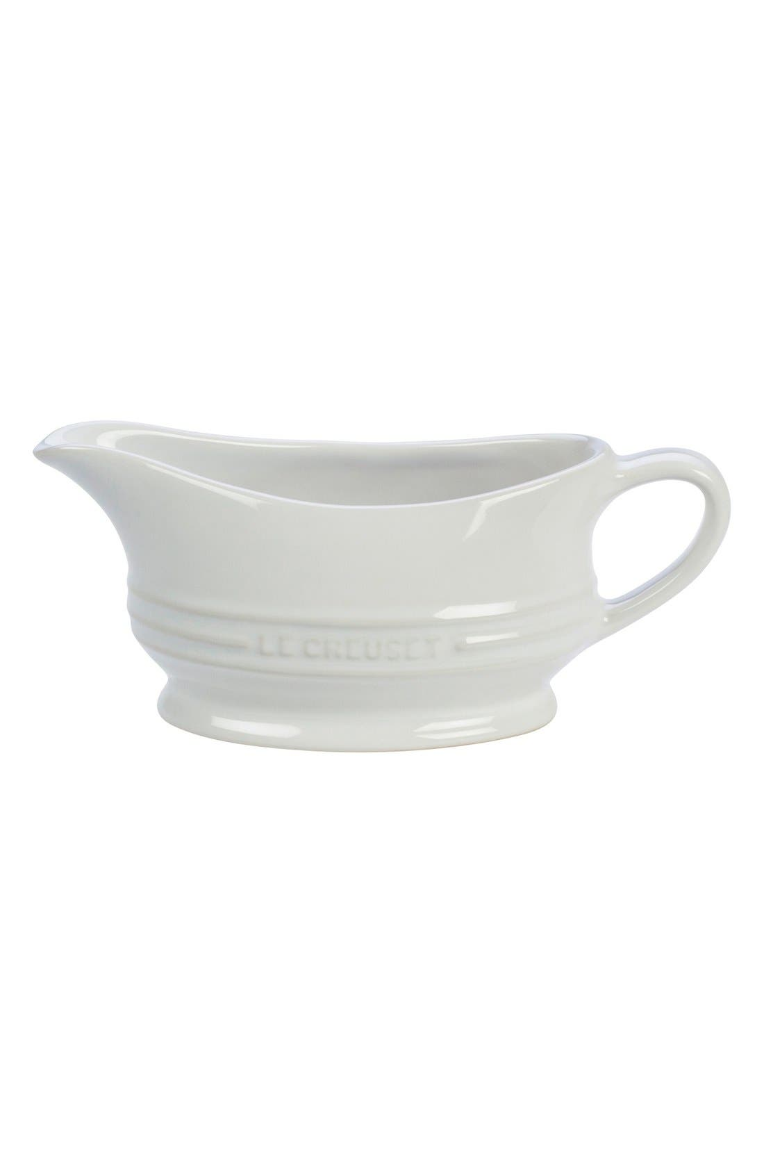 Stoneware Gravy Boat,                             Main thumbnail 1, color,                             White
