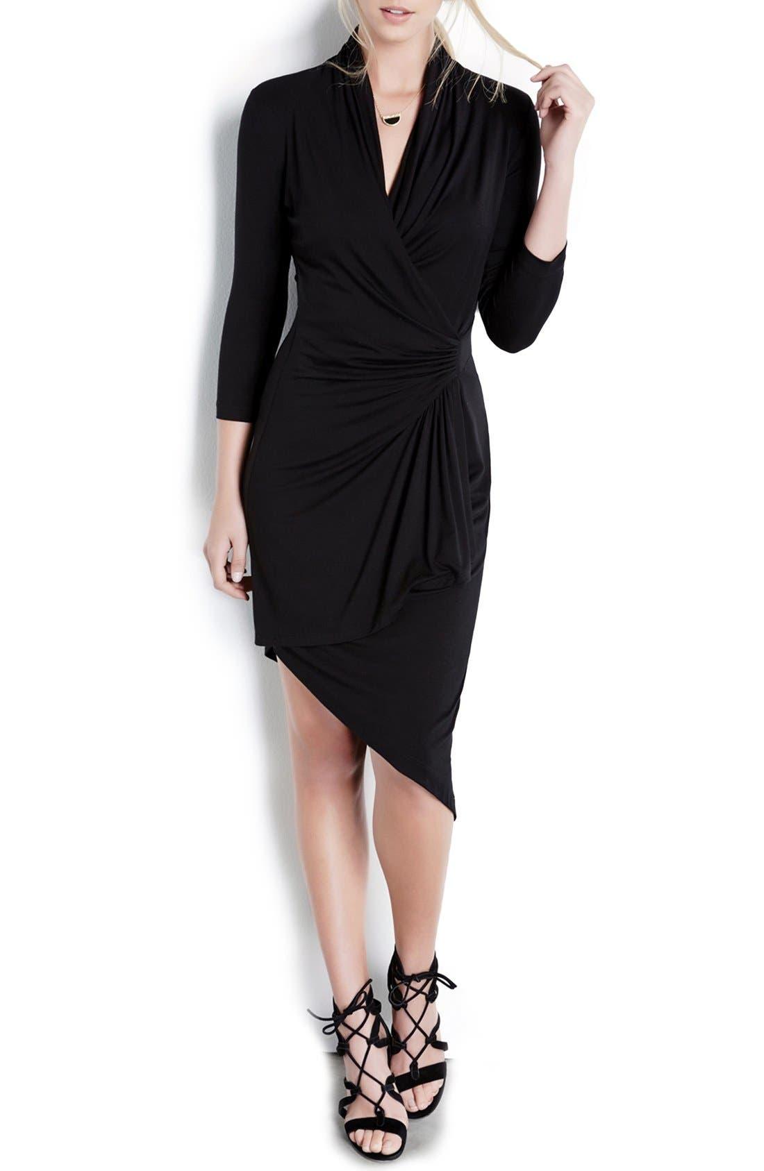 Karen Kane Asymmetrical Cascade Faux Wrap Dress