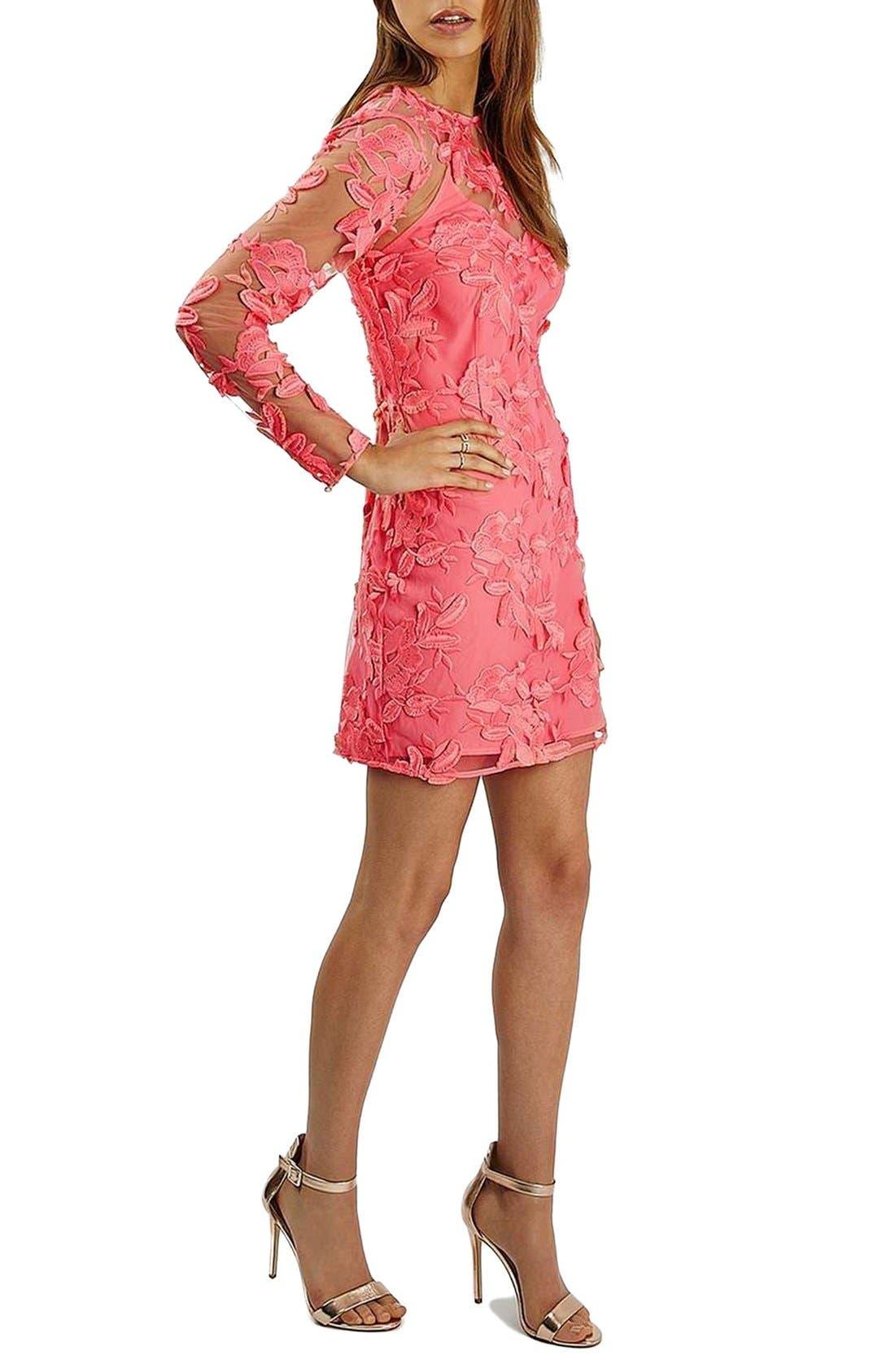 Main Image - Topshop Lace Appliqué Long Sleeve Minidress