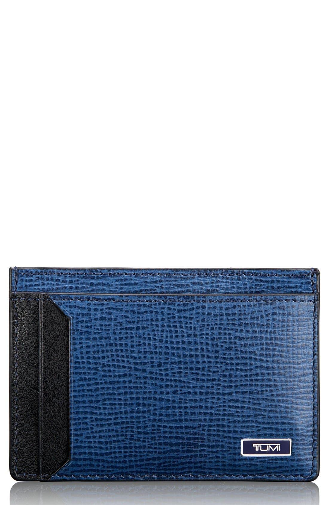 Monaco Leather Money Clip Card Case,                             Main thumbnail 1, color,                             Cobalt