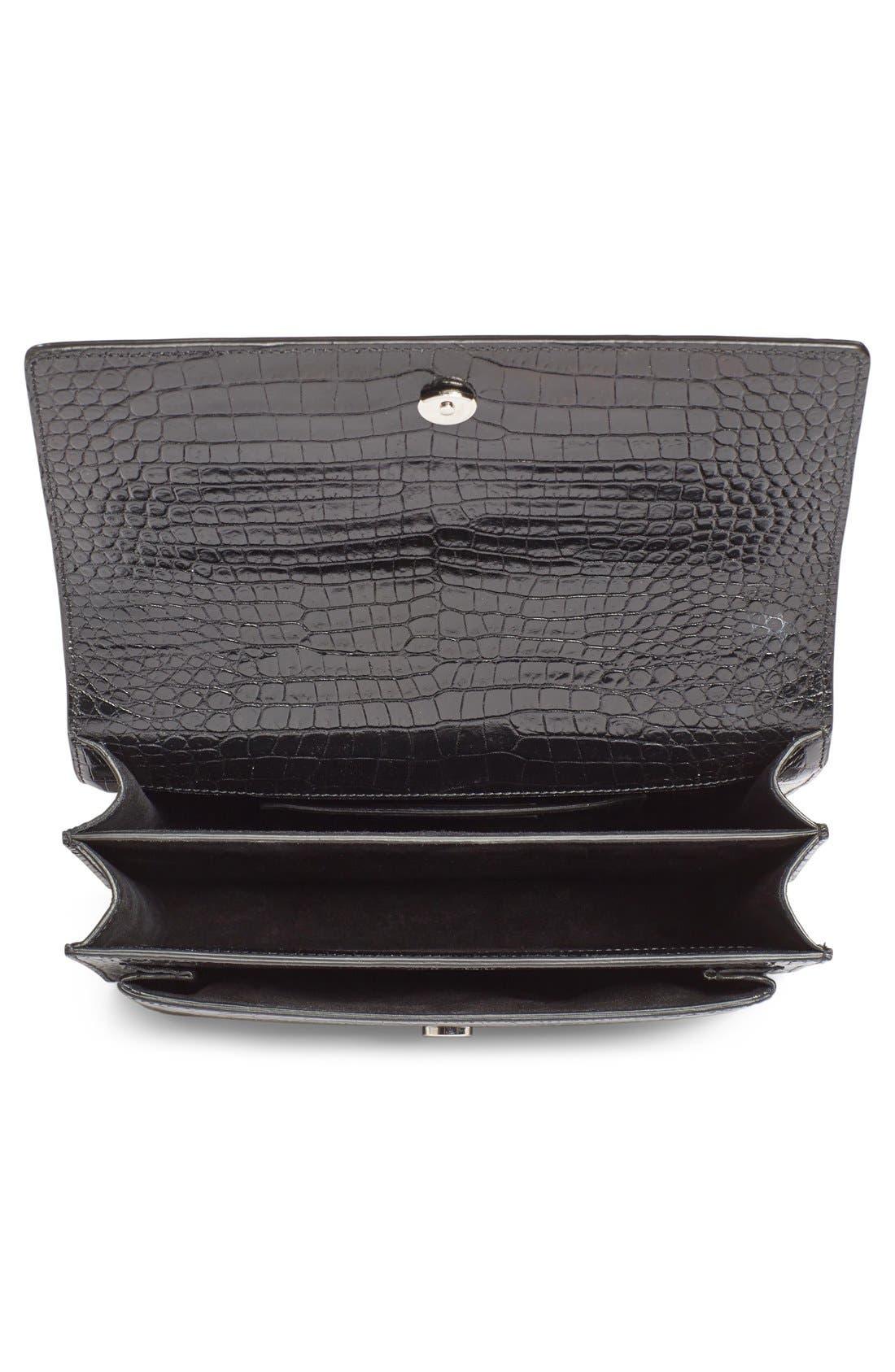 'Medium Monogram Sunset' Croc Embossed Leather Shoulder Bag,                             Alternate thumbnail 2, color,                             Nero
