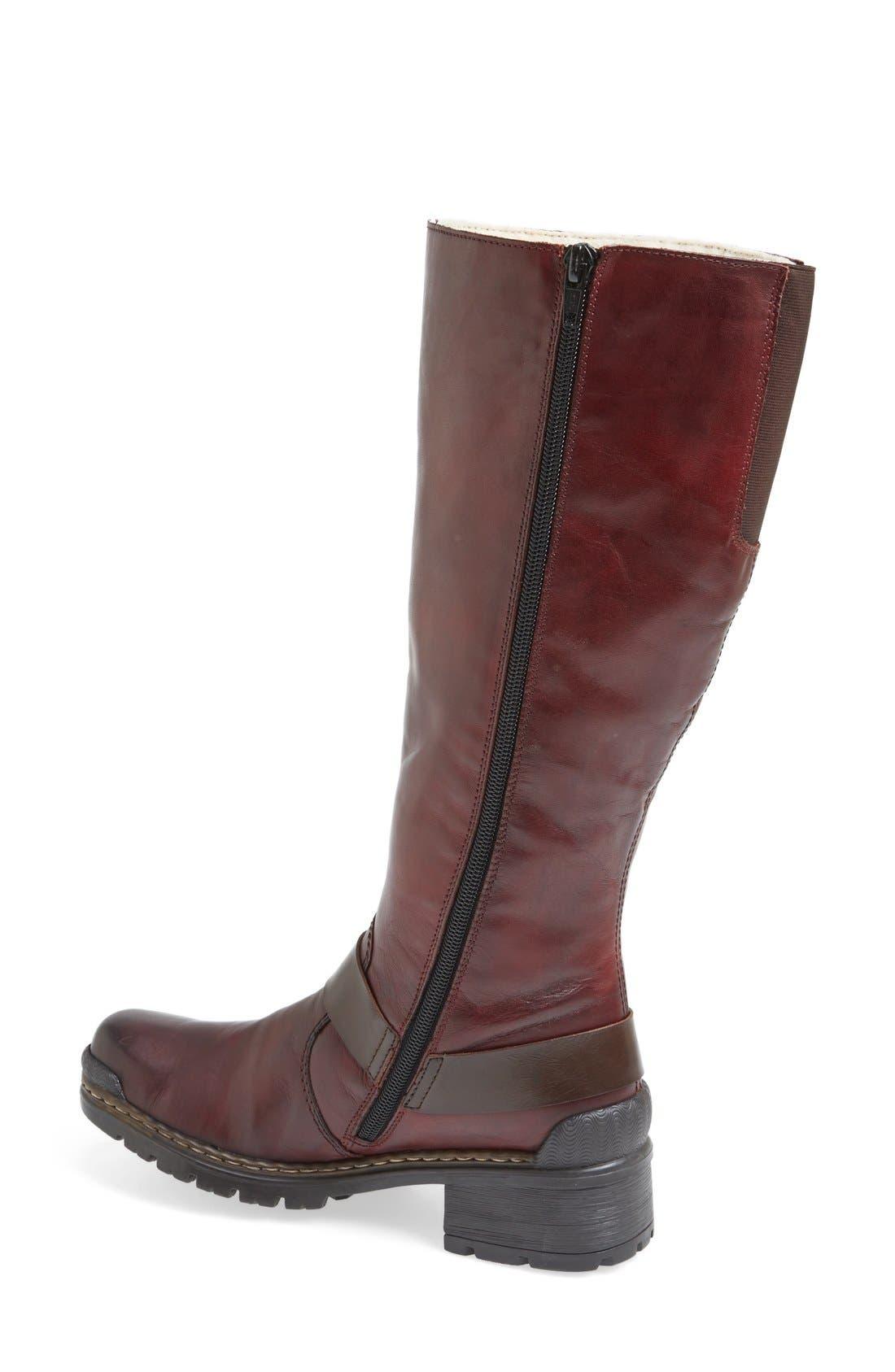 'Sybille 70' Riding Boot,                             Alternate thumbnail 2, color,                             Bordeaux Leather