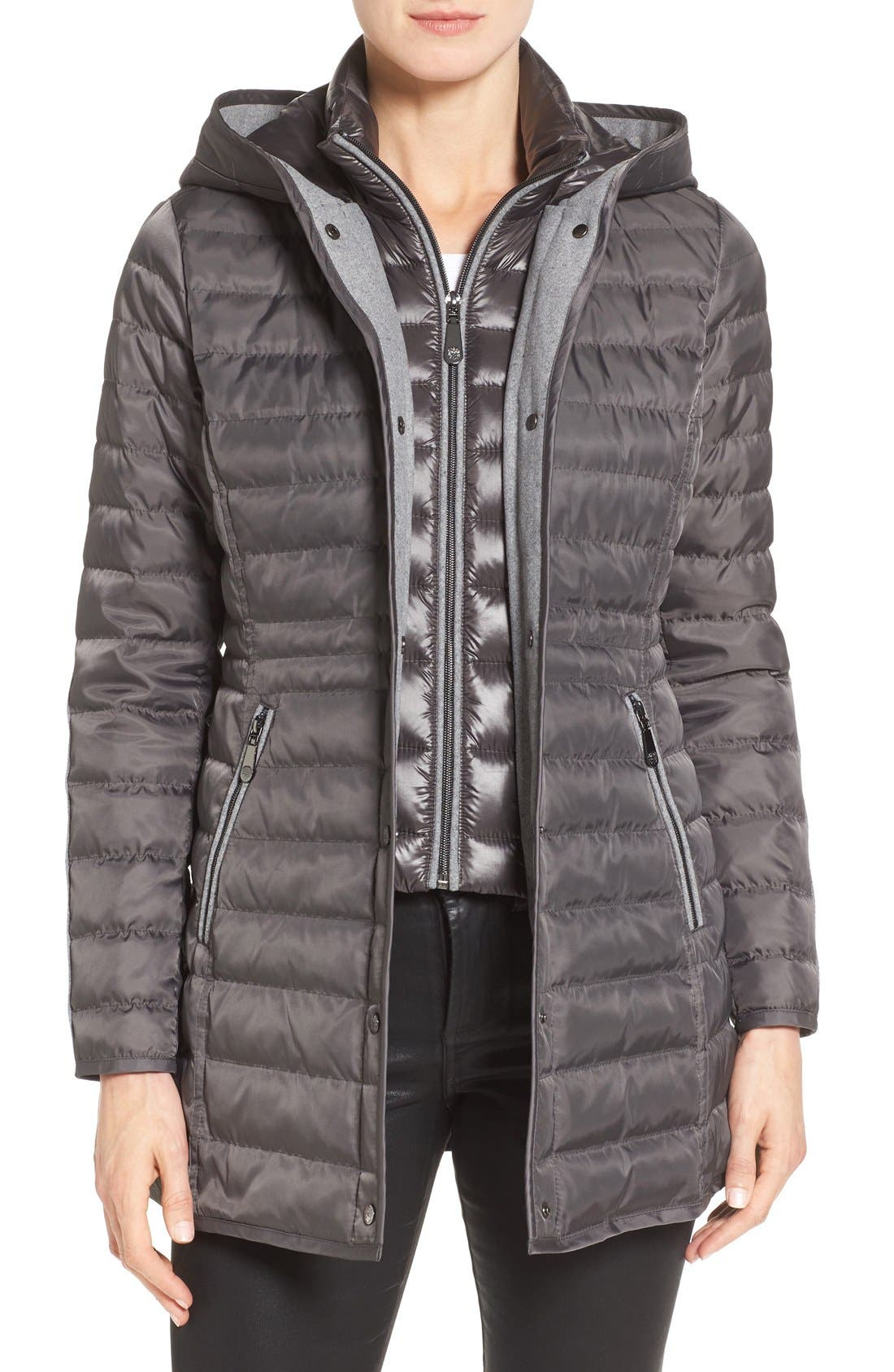 Quilted Down Coat,                             Main thumbnail 1, color,                             Iron