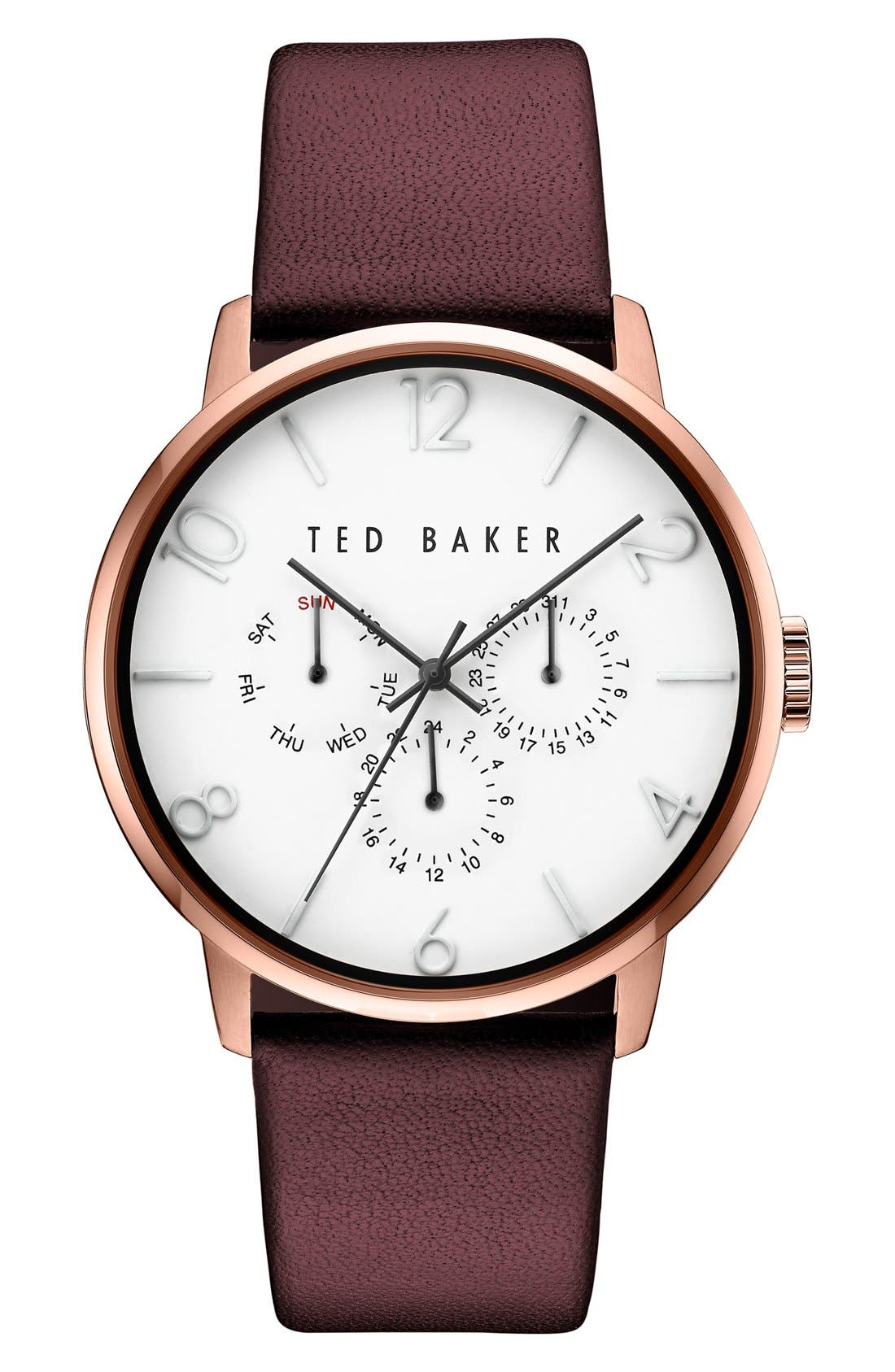 Multifunction Leather Strap Watch, 42mm,                         Main,                         color, White/ Dark Red