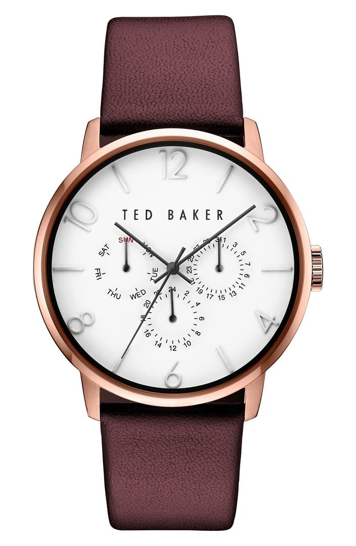Ted baker london multifunction leather strap watch 42mm nordstrom for Leather strap watches