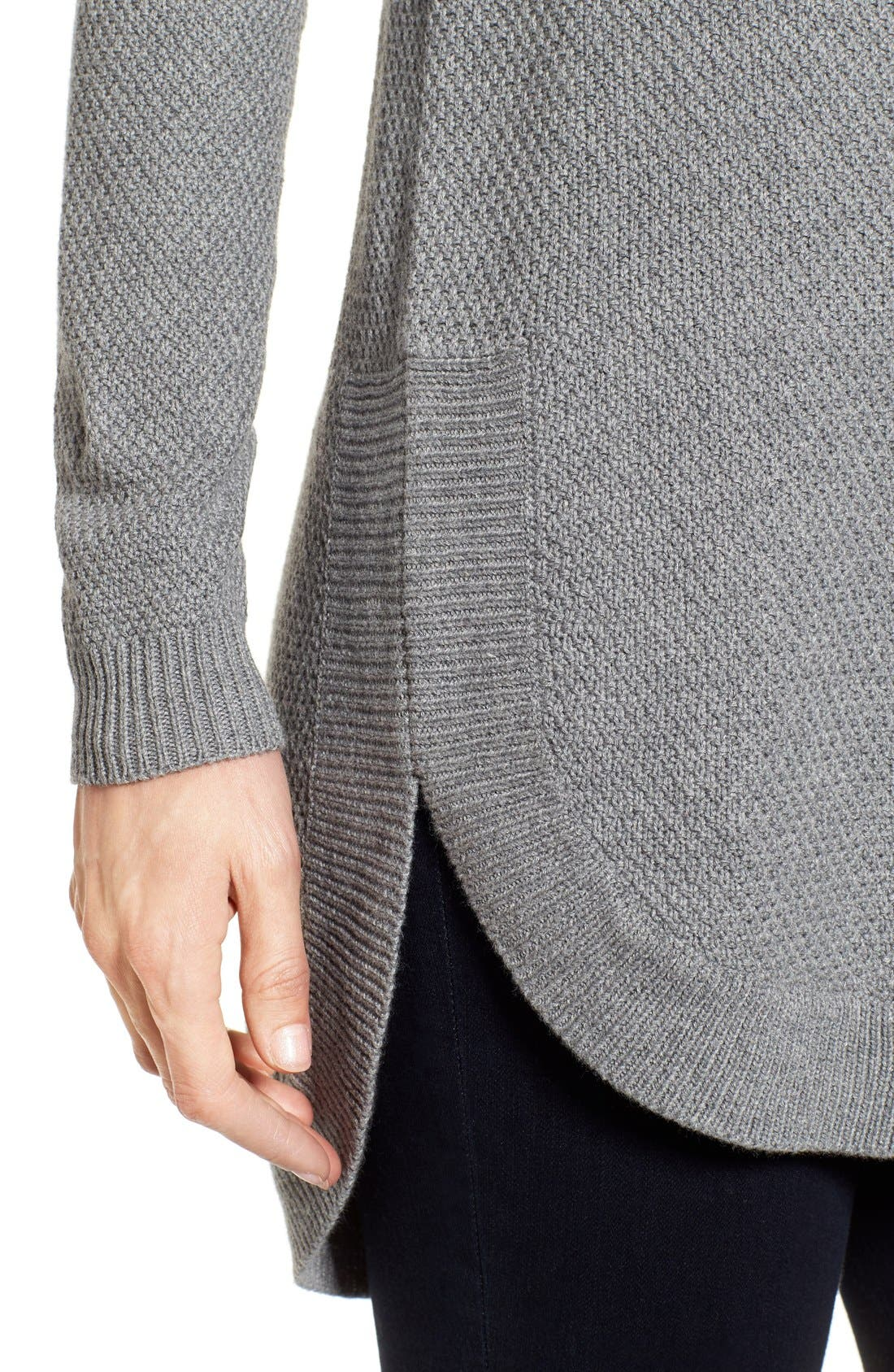 Texture Knit Tunic,                             Alternate thumbnail 4, color,                             Grey Texture Pattern