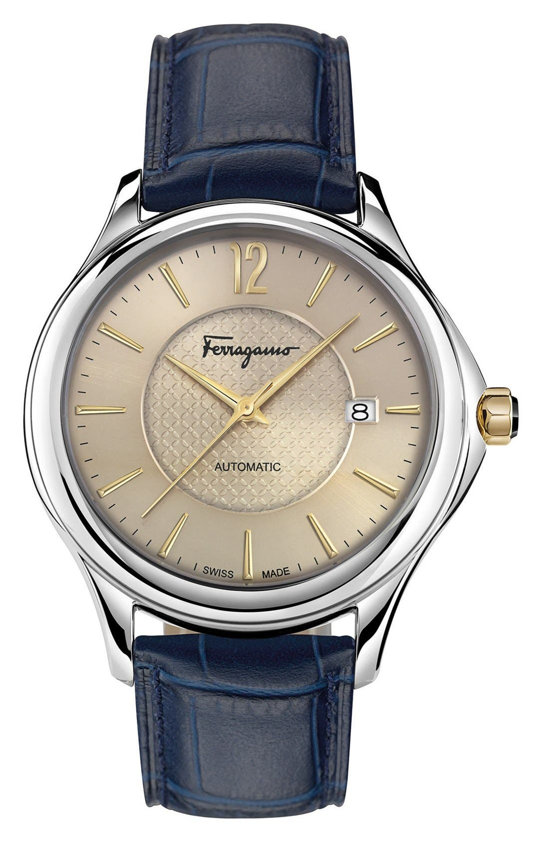 Salvatore Ferragamo 'Time' Automatic Leather Strap Watch, 41mm