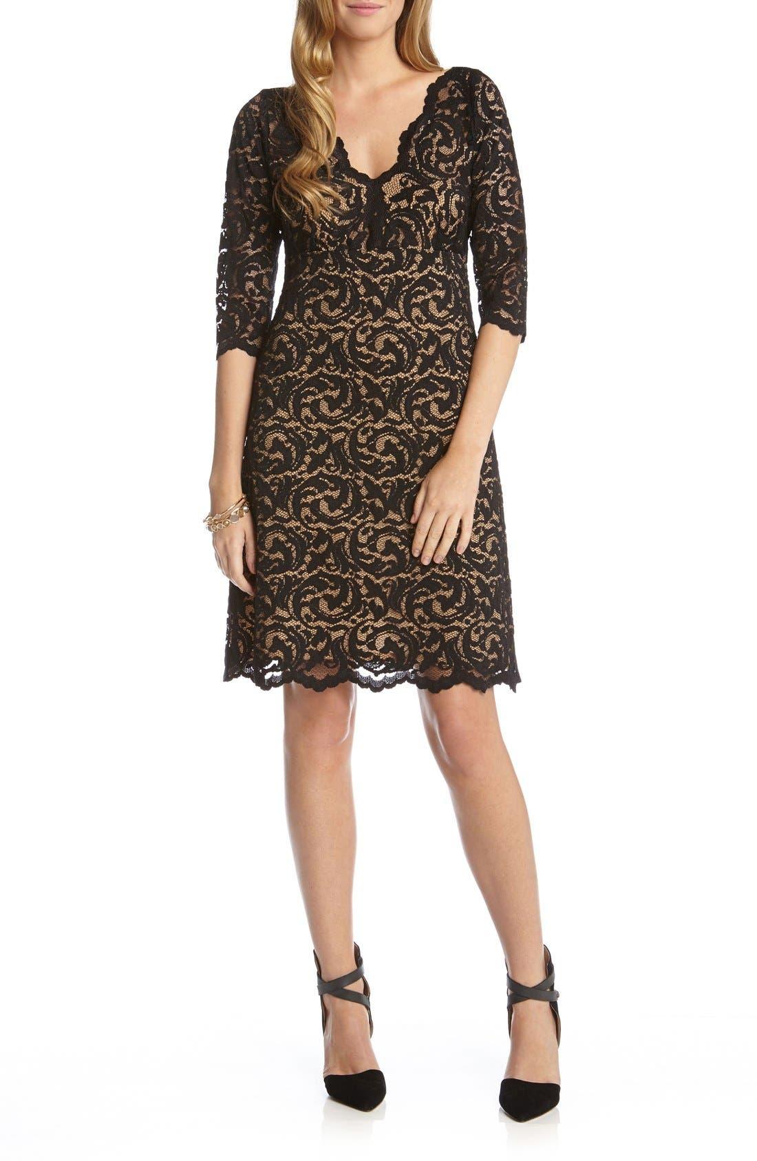 Scalloped Lace V-Neck Dress,                             Main thumbnail 1, color,                             Black/ Nude
