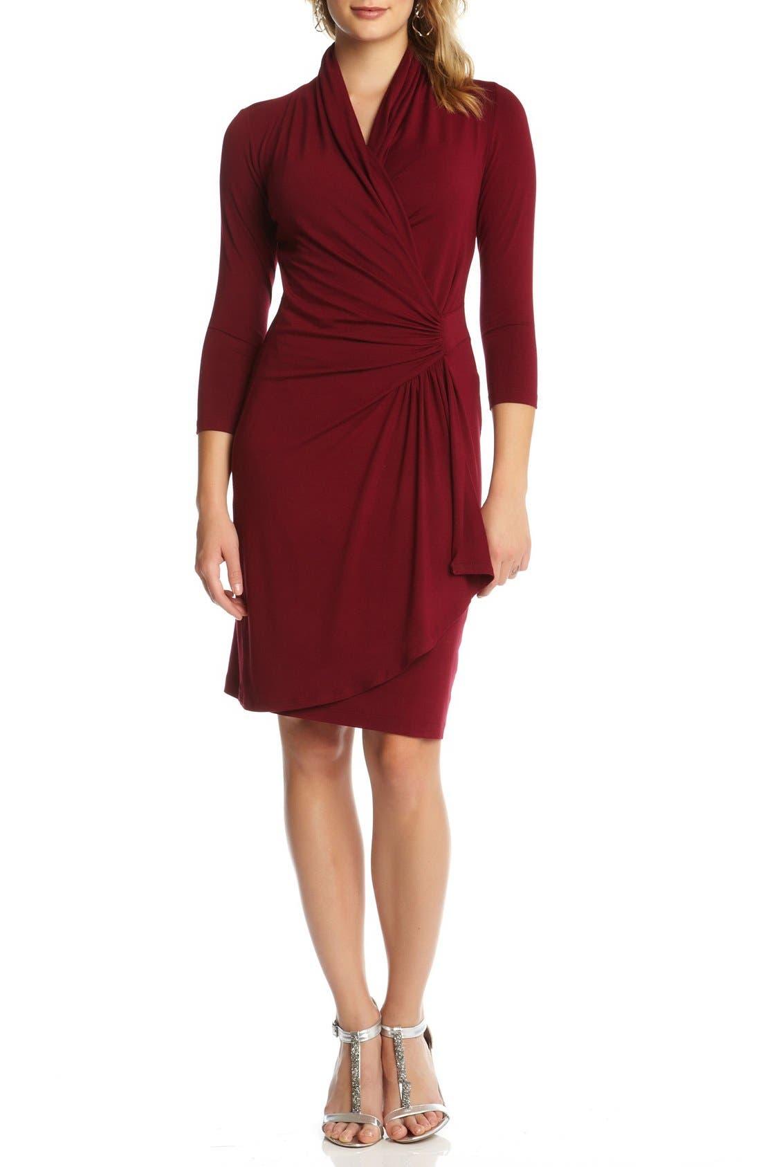 Karen Kane Three-Quarter Sleeve Jersey Cascade Faux Wrap Dress