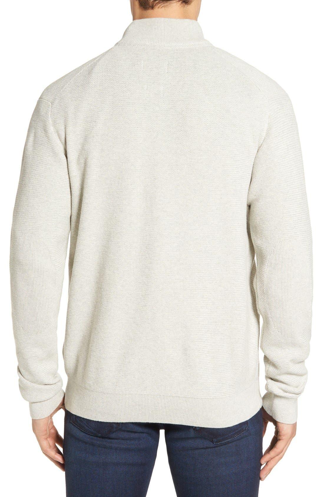 'Benson' Quarter Zip Textured Knit Sweater,                             Alternate thumbnail 2, color,                             Limestone Heather
