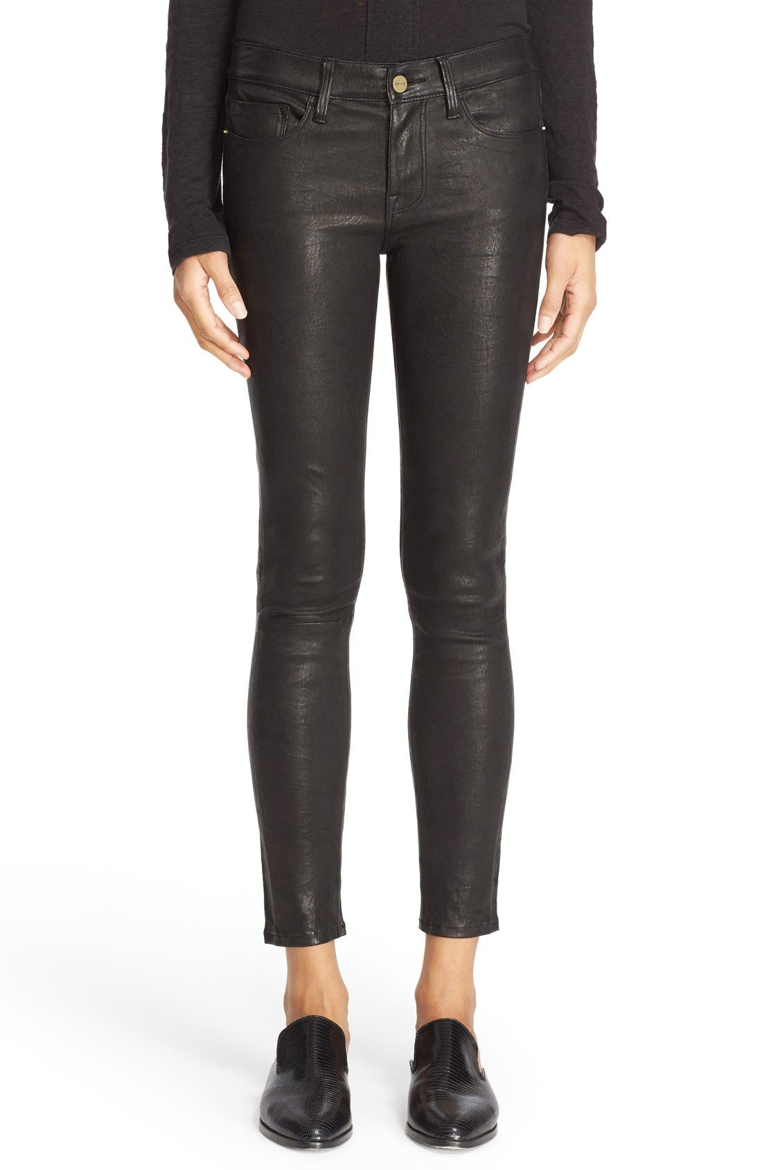 Alternate Image 1 Selected - FRAME 'Le Skinny' Lambskin Leather Pants