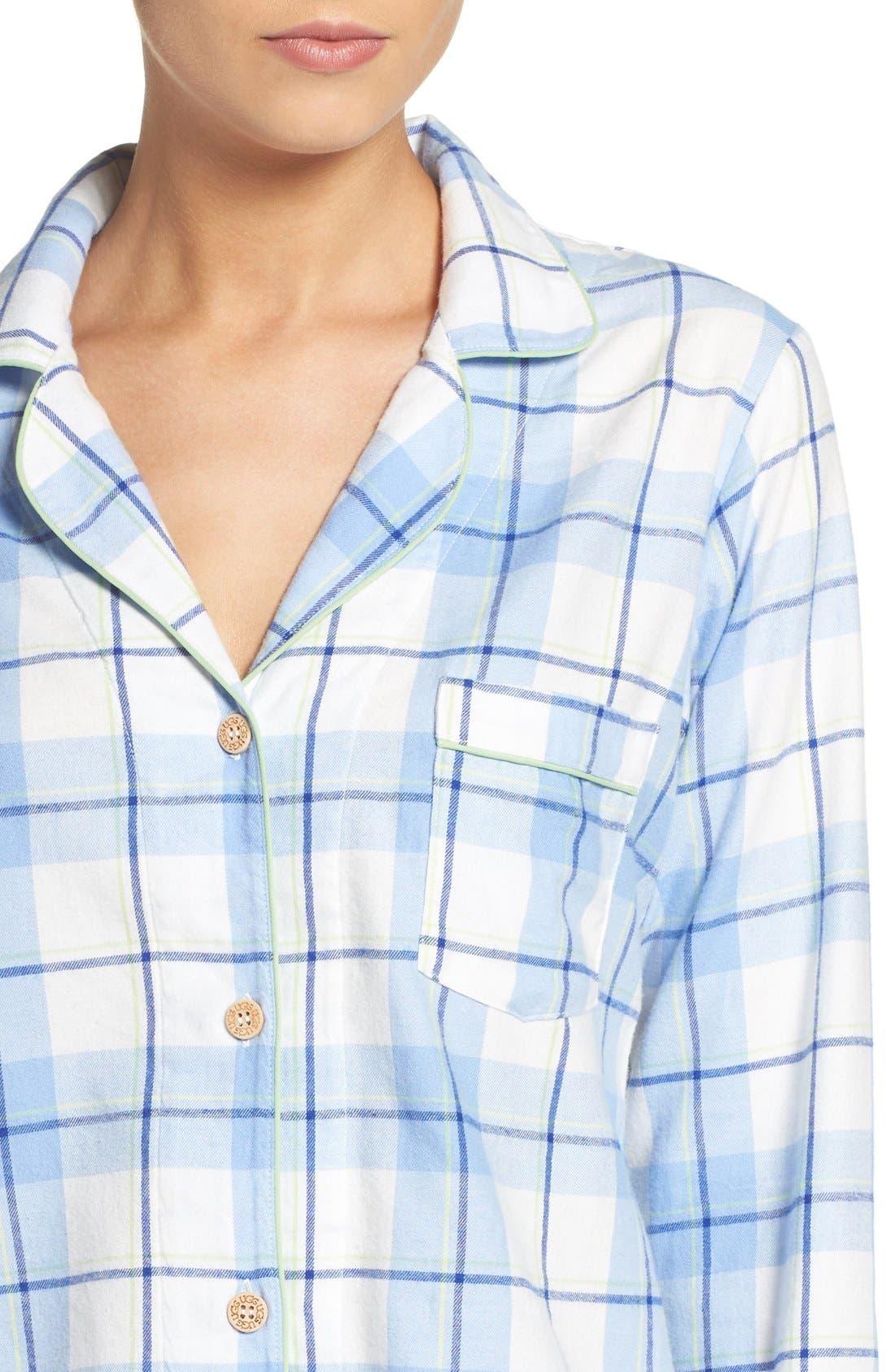'Raven' Plaid Cotton Pajamas,                             Alternate thumbnail 4, color,                             Pajama Blue