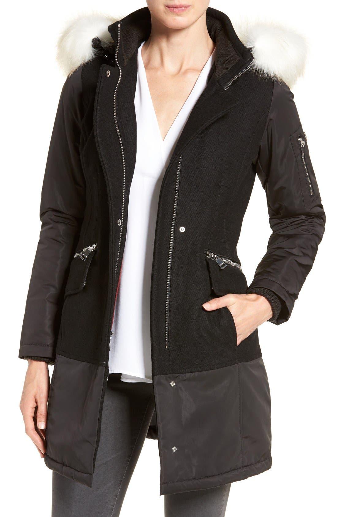 Main Image - 1 Madison Faux Fur Trim Mixed Media Drop Waist Coat