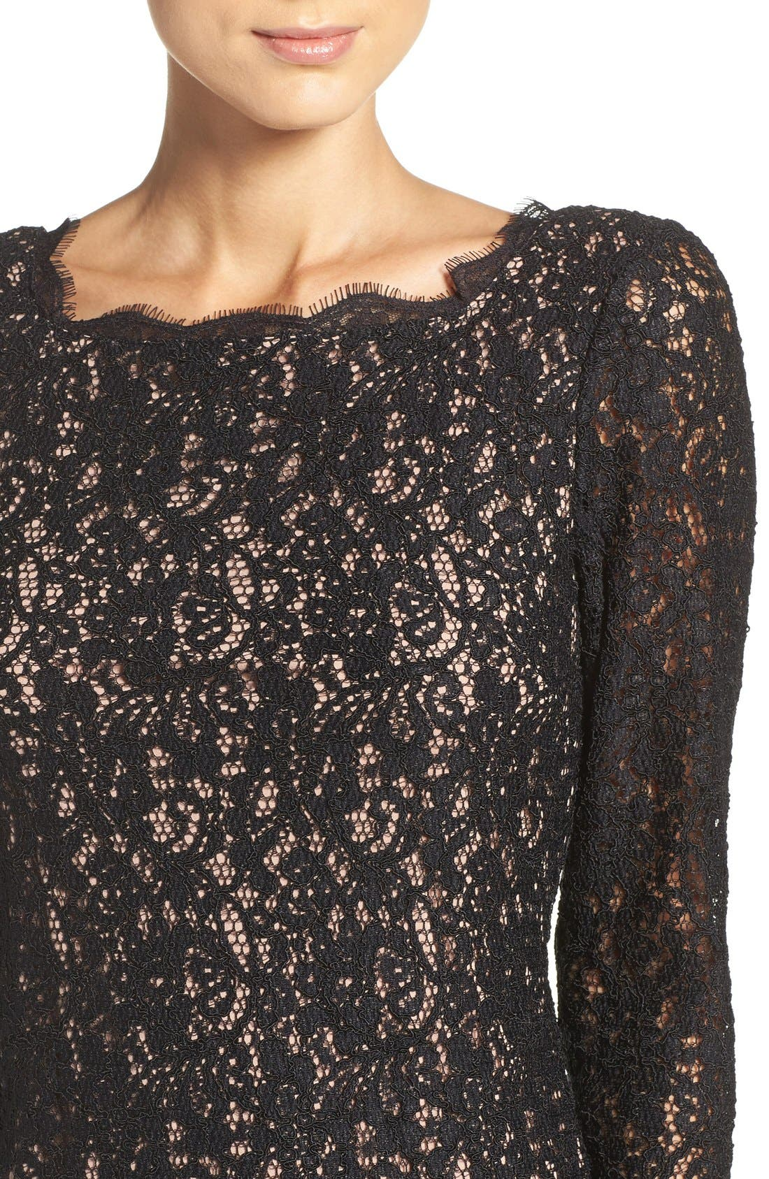 Alternate Image 5  - Adrianna Papell Lace Overlay Sheath Dress (Regular & Petite)