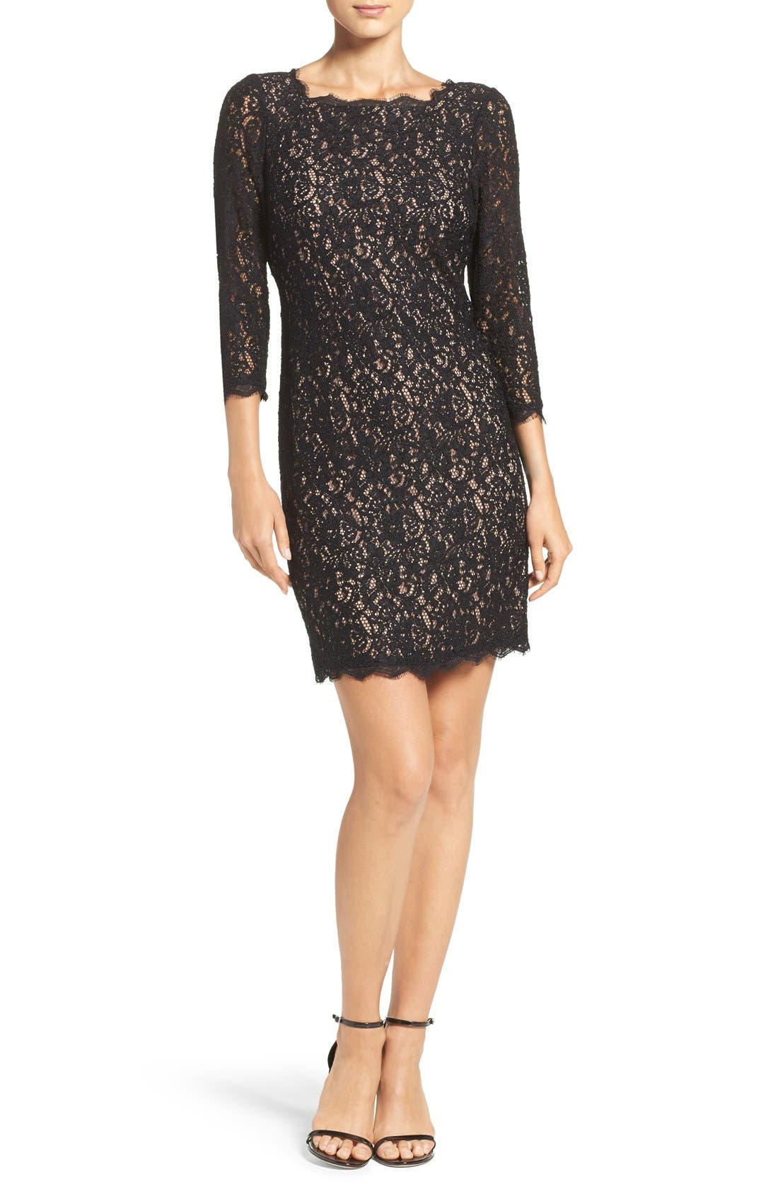 Alternate Image 4  - Adrianna Papell Lace Overlay Sheath Dress (Regular & Petite)