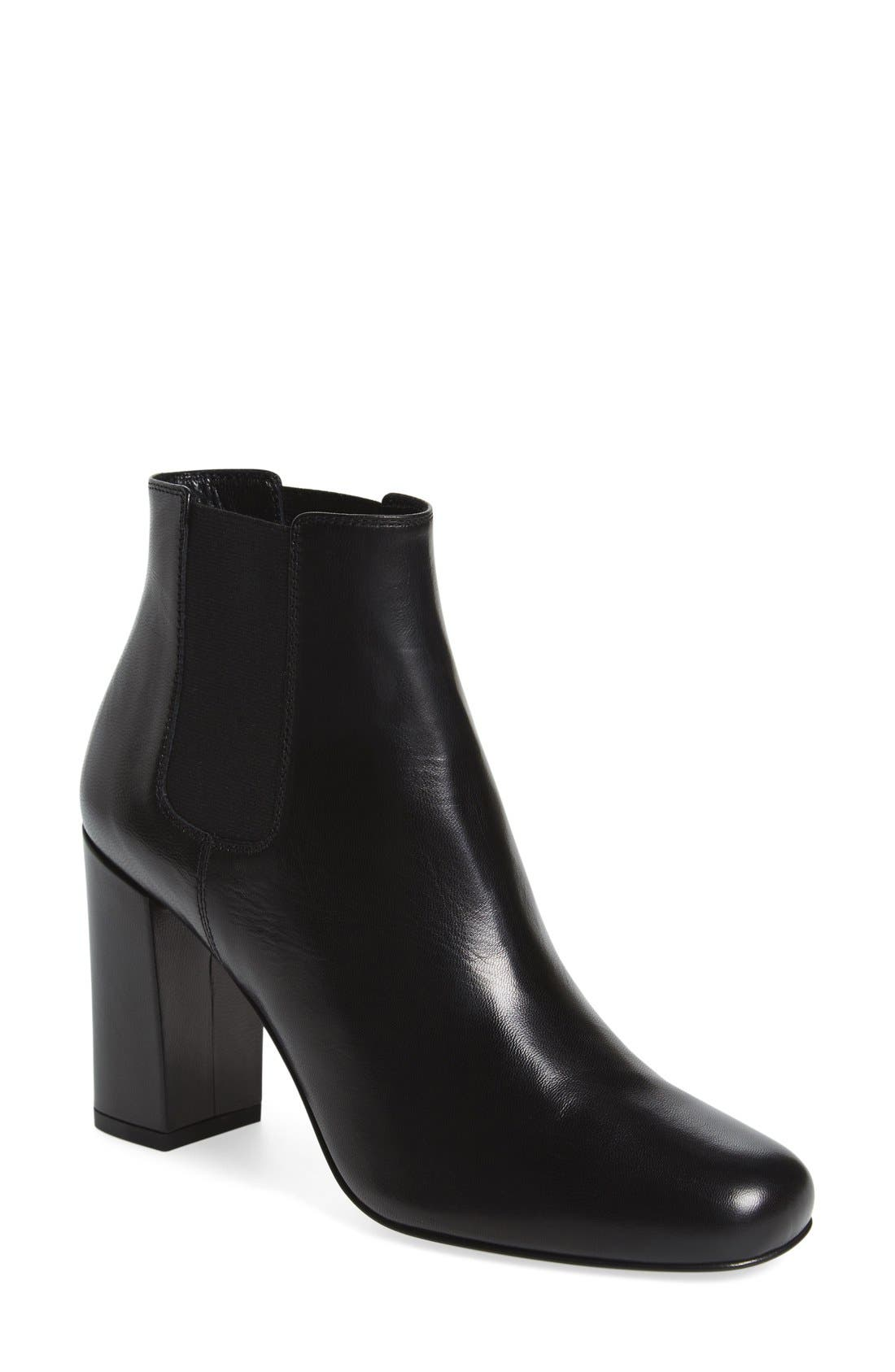 'Babies' Block Heel Chelsea Boot,                             Main thumbnail 1, color,                             Black Leather