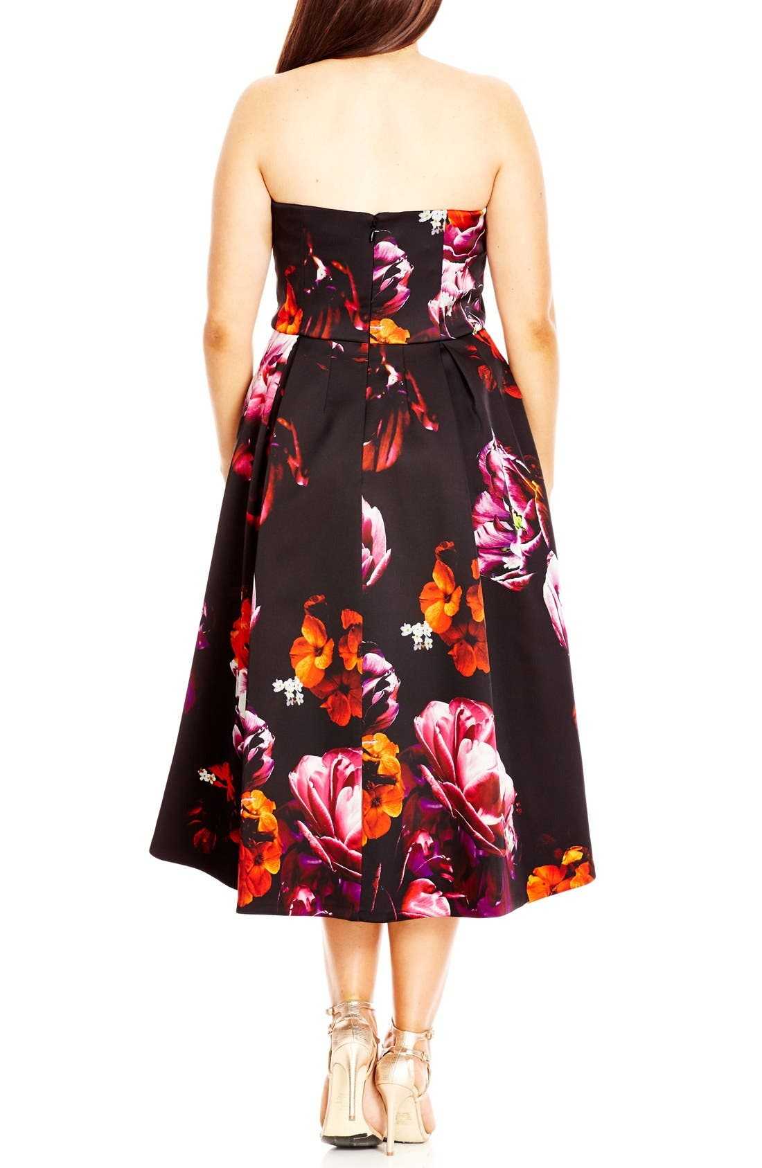 Alternate Image 2  - City Chic 'Floral Magic' Floral Print Strapless High/Low Dress (Plus Size)