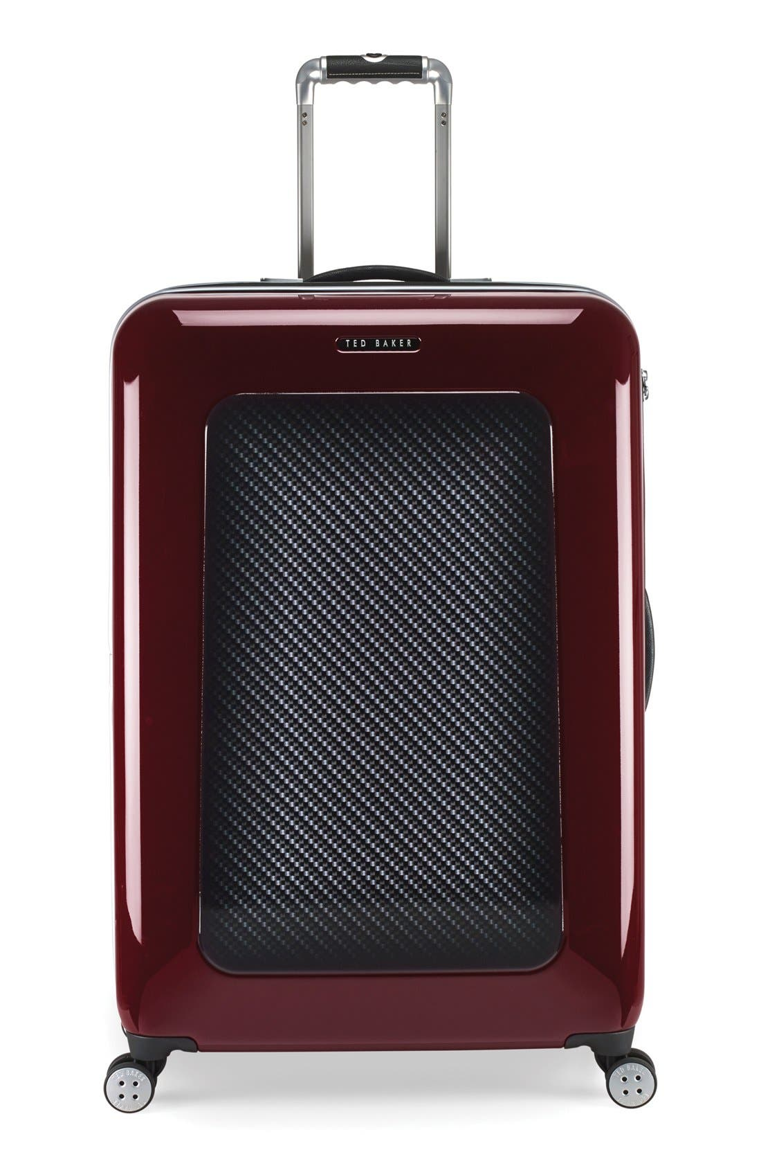 TED BAKER LONDON Large Burgundy Four Wheel Suitcase