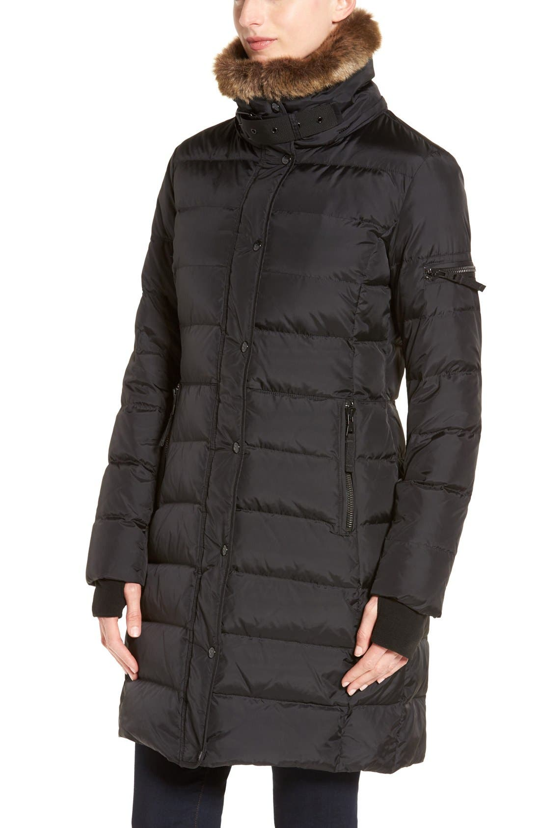 Alternate Image 4  - S13 'Uptown' Quilted Coat with Faux Fur Trim