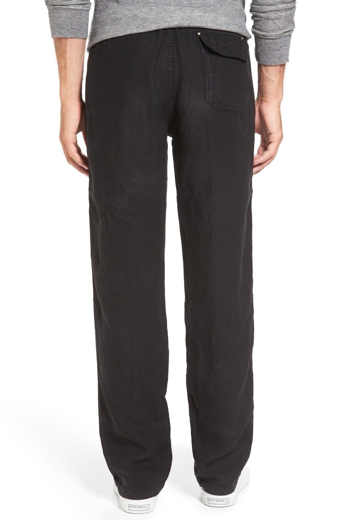 'Classic' Linen Pants,                             Alternate thumbnail 2, color,                             Black