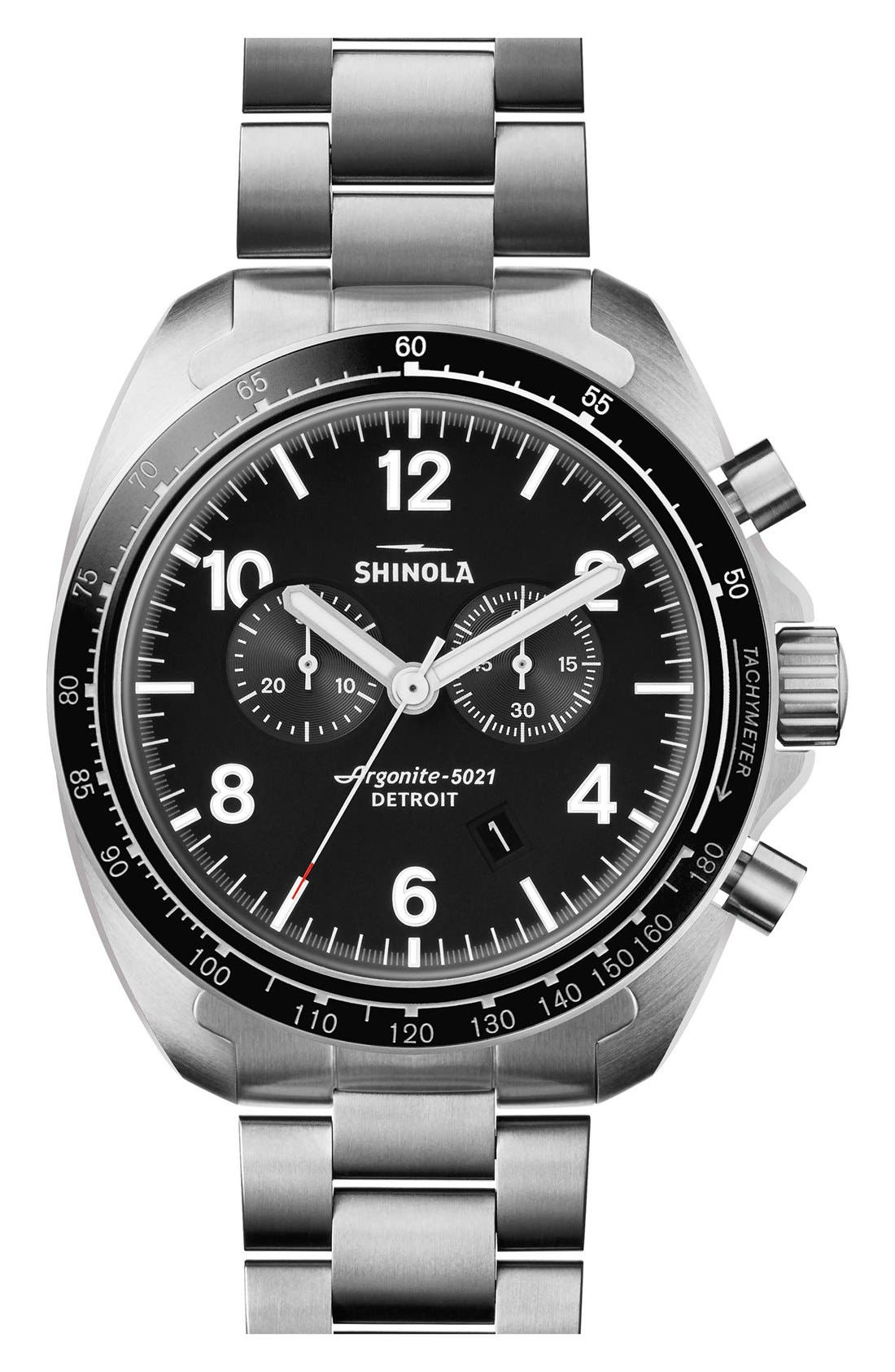 'Rambler' Chronograph Bracelet Watch, 44mm,                         Main,                         color, Silver/ Black