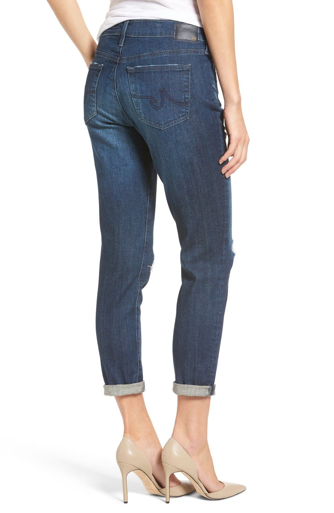 Alternate Image 2  - AG 'The Beau' High Rise Slouchy Skinny Jeans (Winnow)