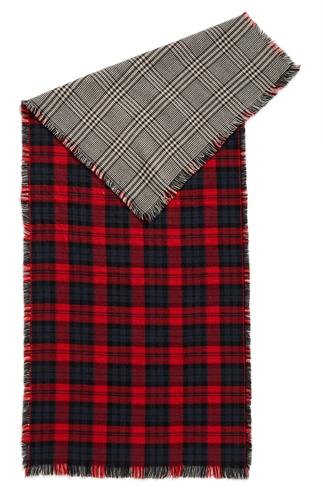 Reversible Scarf,                             Alternate thumbnail 2, color,                             Black/ Red