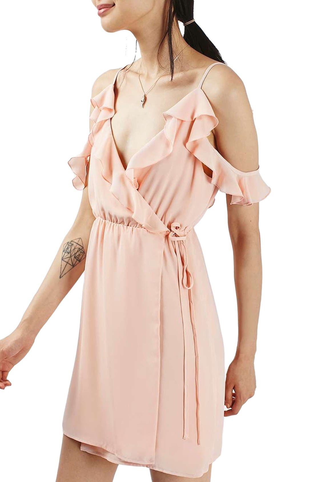 Alternate Image 3  - Topshop Ruffle Cold Shoulder Wrap Minidress
