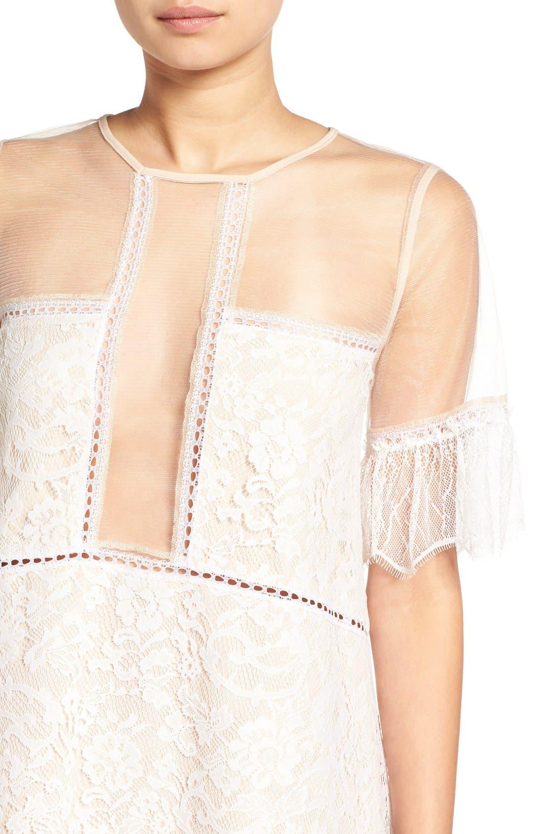 Alternate Image 4  - KENDALL + KYLIE Lace Panel Trapeze Dress