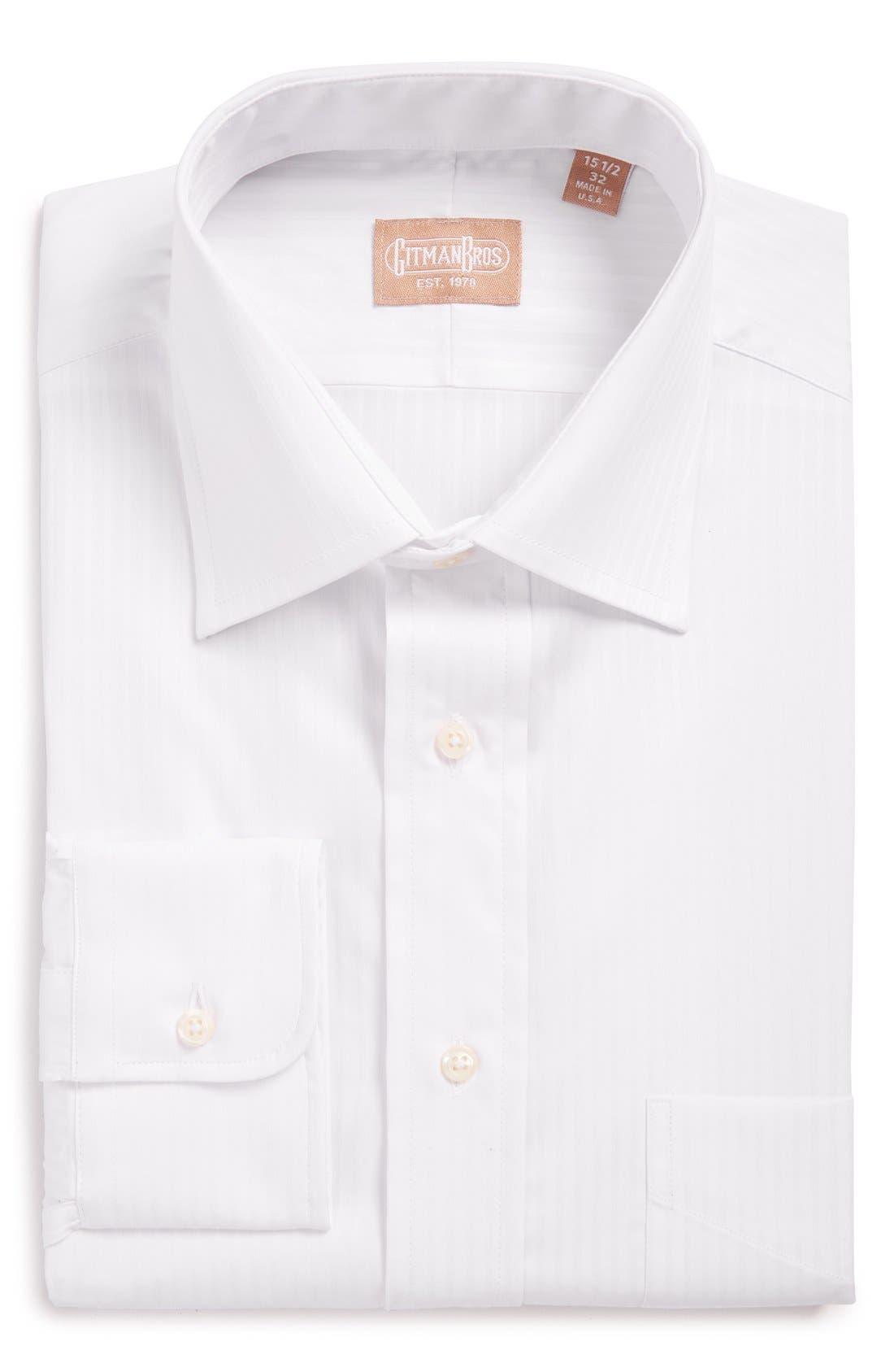 Regular Fit Tonal Stripe Twill Dress Shirt,                         Main,                         color, White